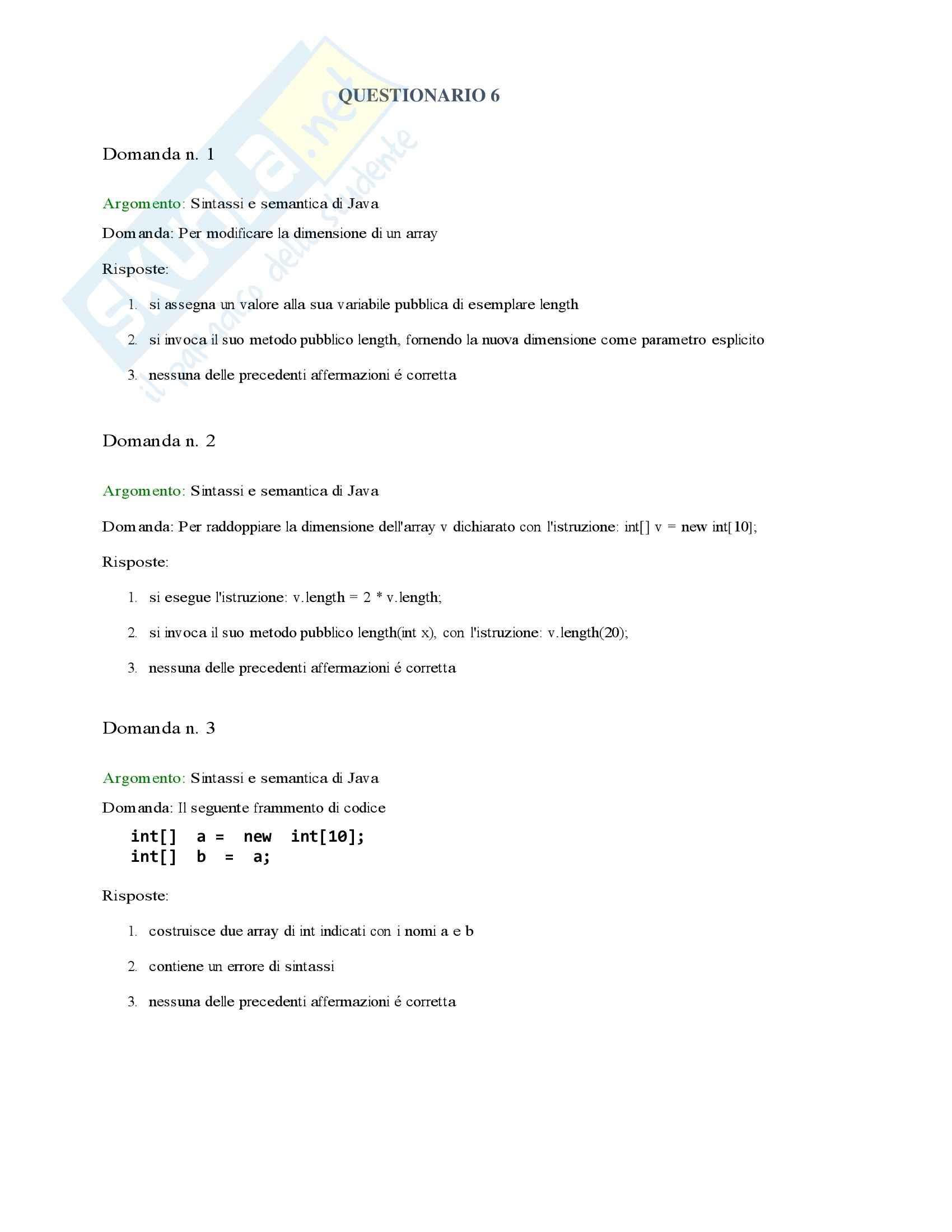 Informatica I - Esercizi teoria 4