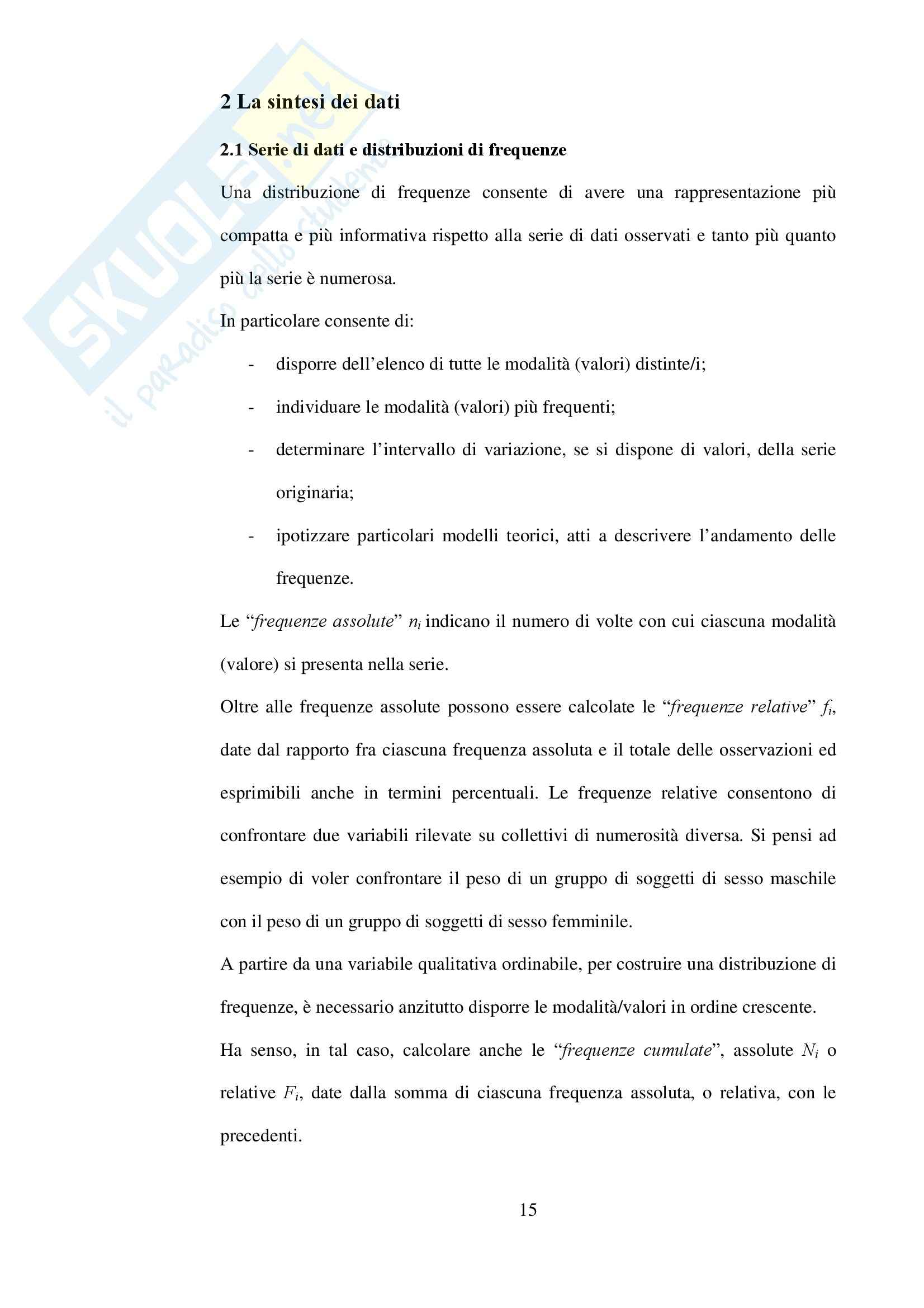 Statistica - Appunti Pag. 1