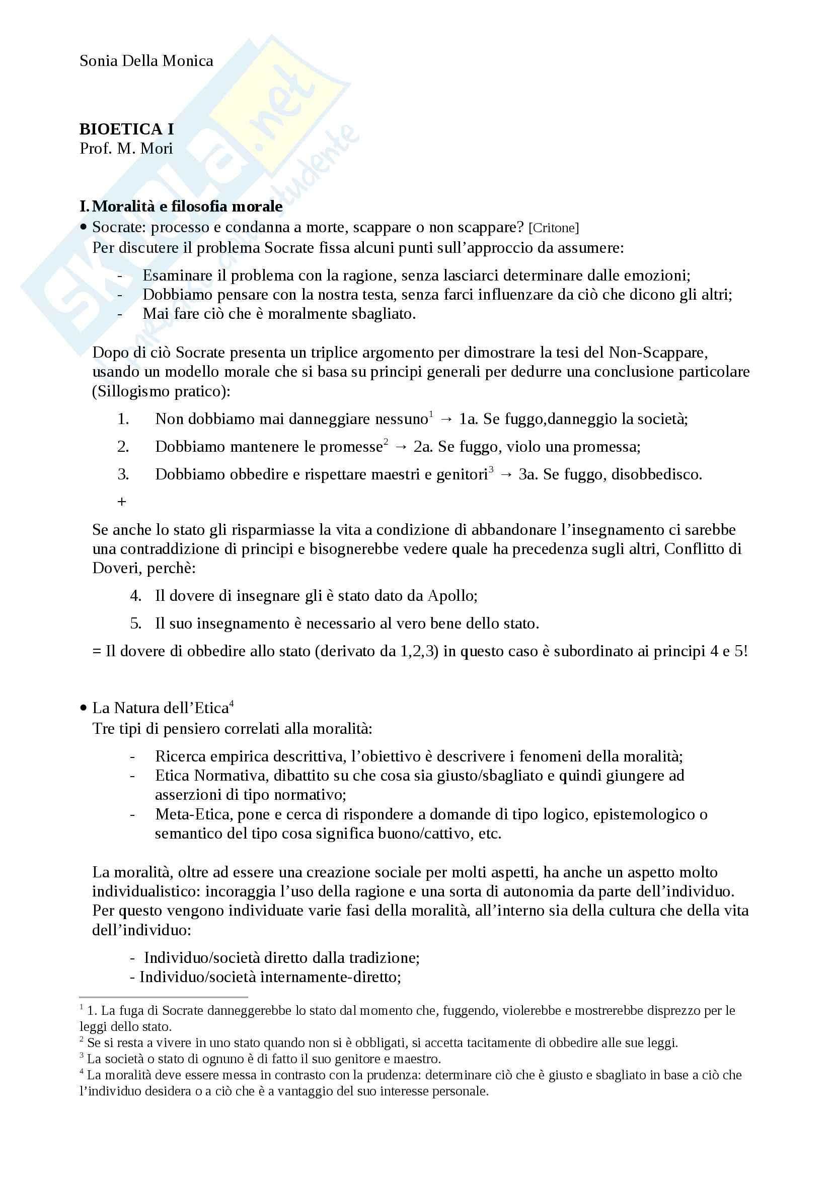 Lezioni prima parte, Bioetica