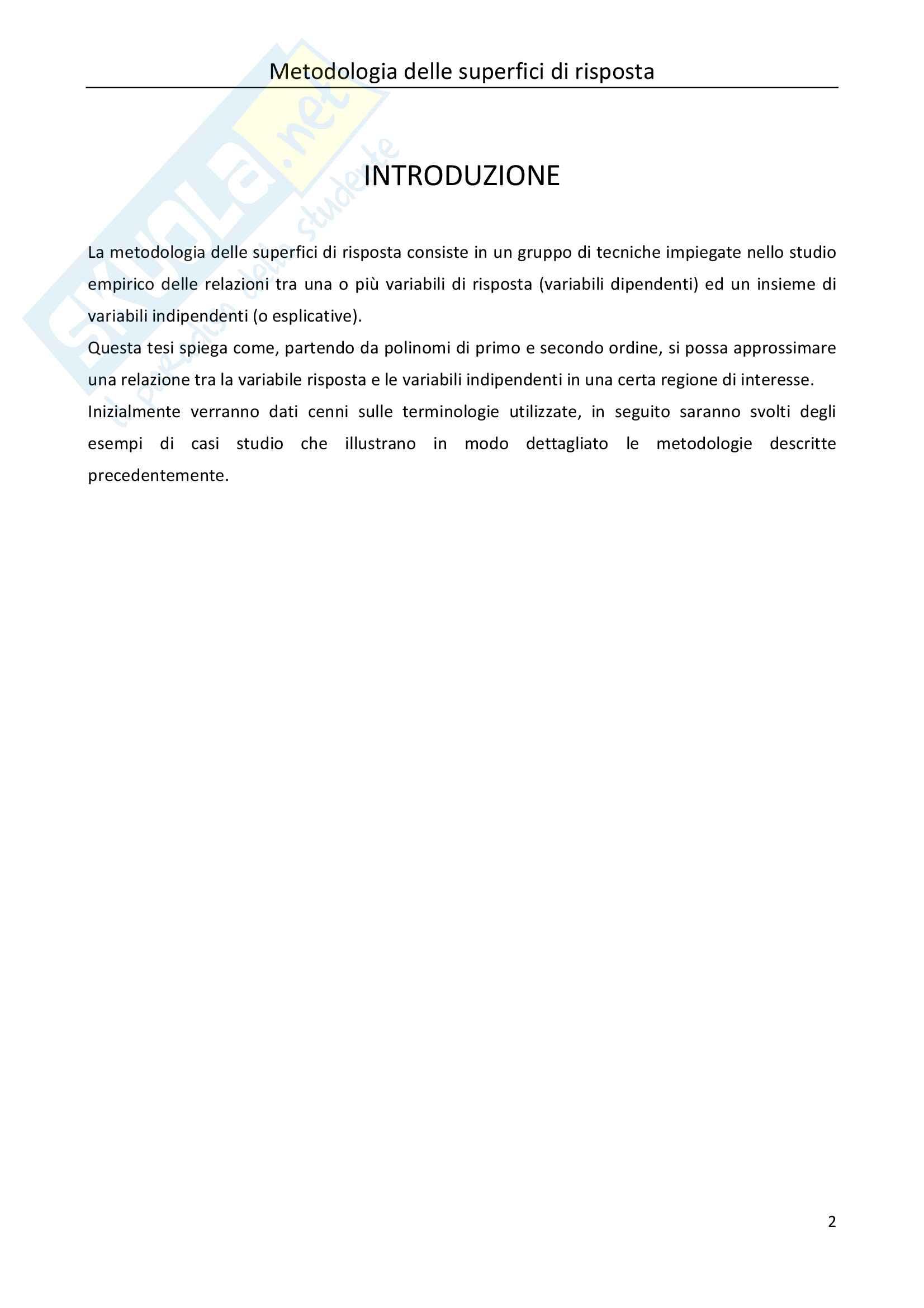 Tesi Statistica: metodologia delle superfici di risposta Pag. 2