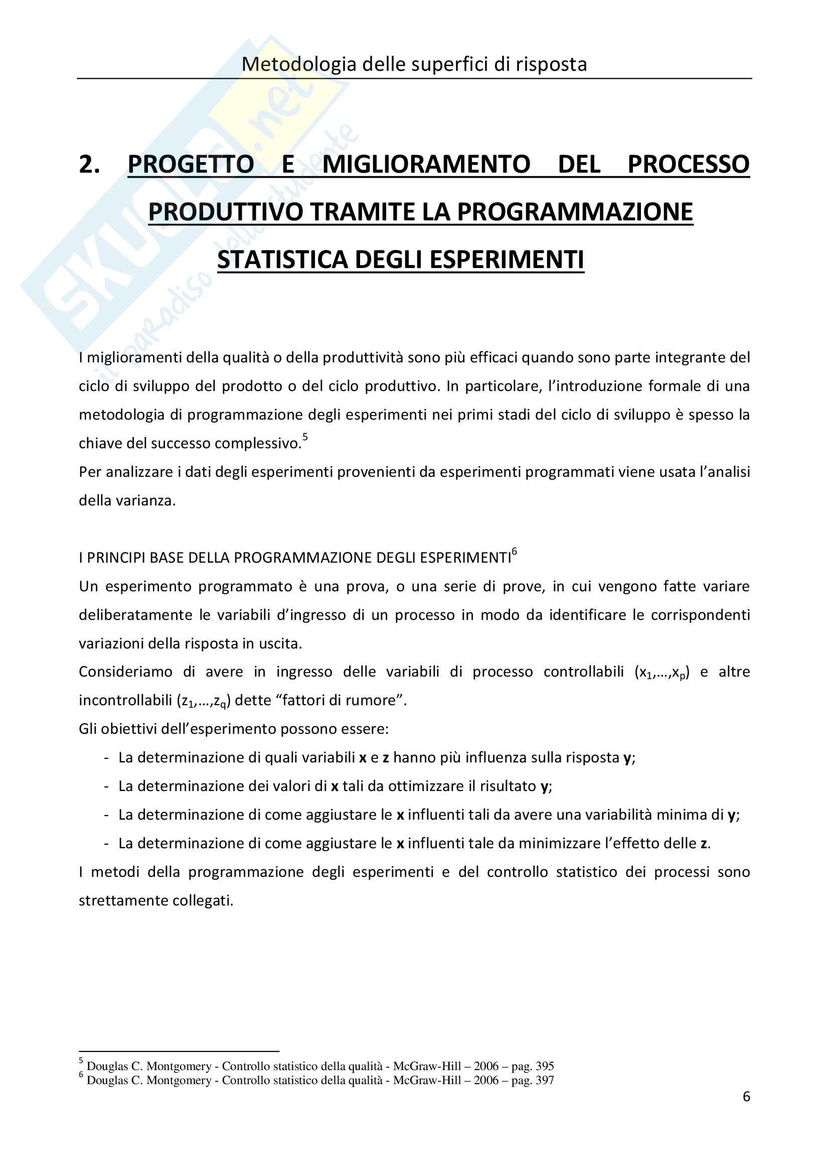 Tesi Statistica: metodologia delle superfici di risposta Pag. 6