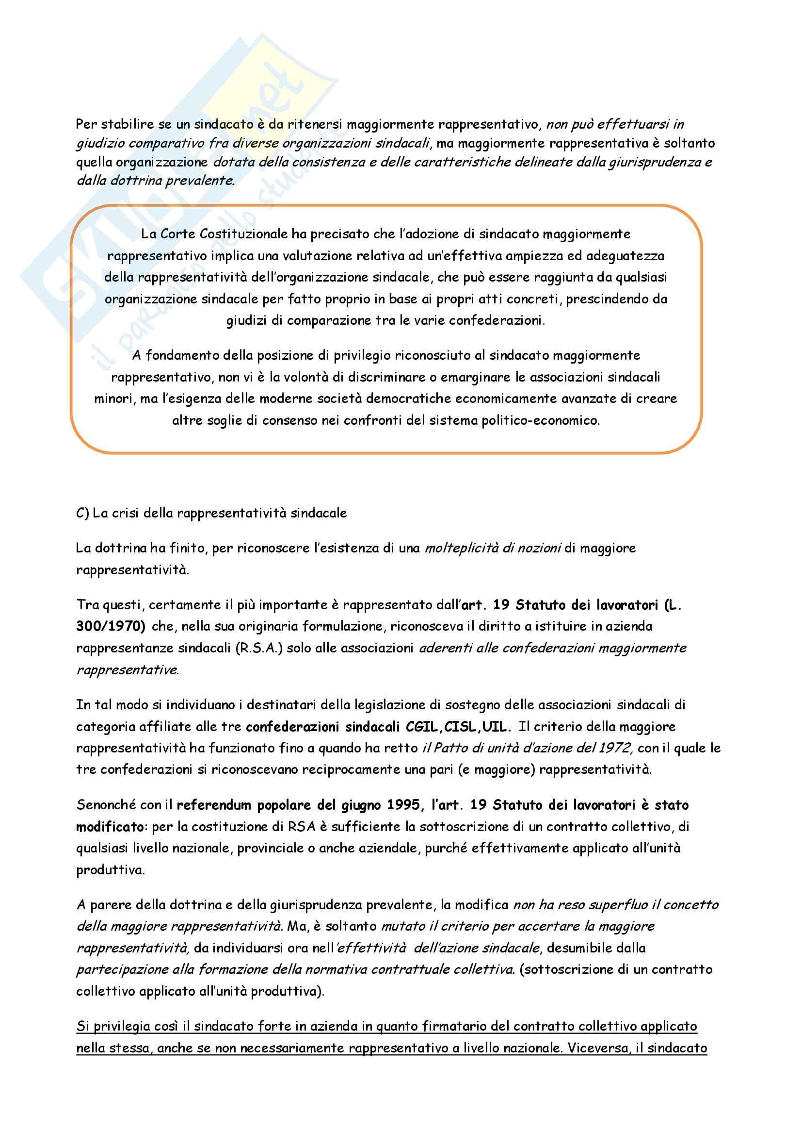 Riassunto esame Diritto del Lavoro, prof. Fontana, libro consigliato Diritto Sindacale di Carinci, Tosi e Treu Pag. 6
