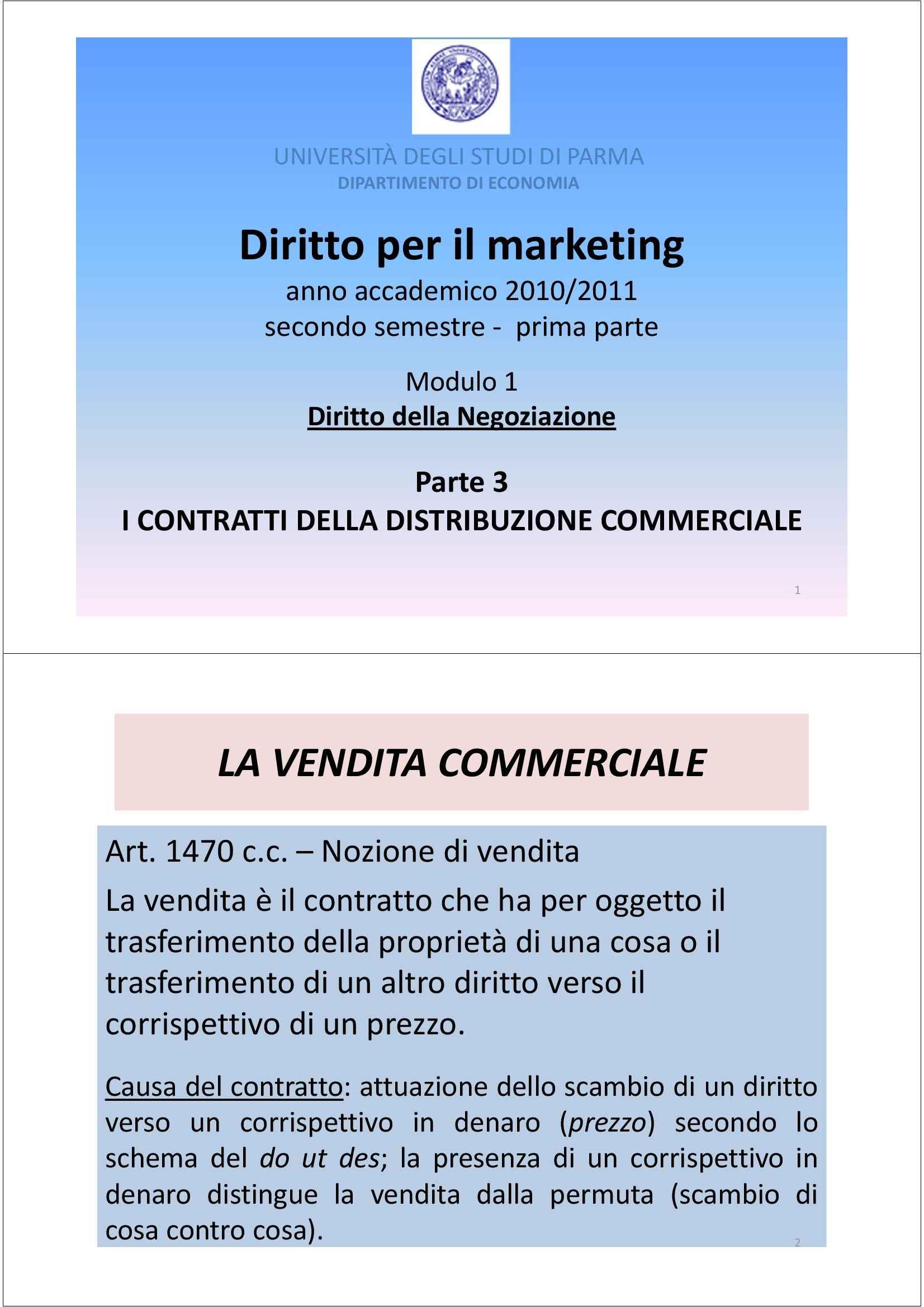 Diritto per il marketing - il diritto della negoziazione