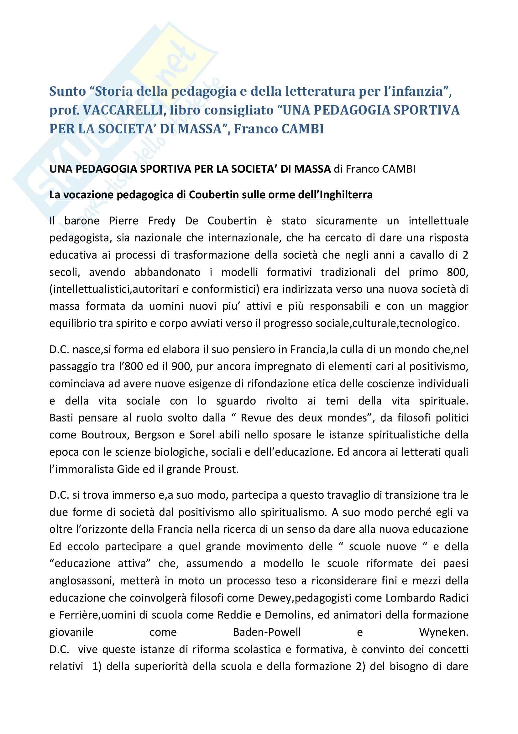 Riassunto esame Storia della pedagogia, prof. Vaccarelli, libro consigliato Una pedagogia sportiva per la società di massa, Cambi