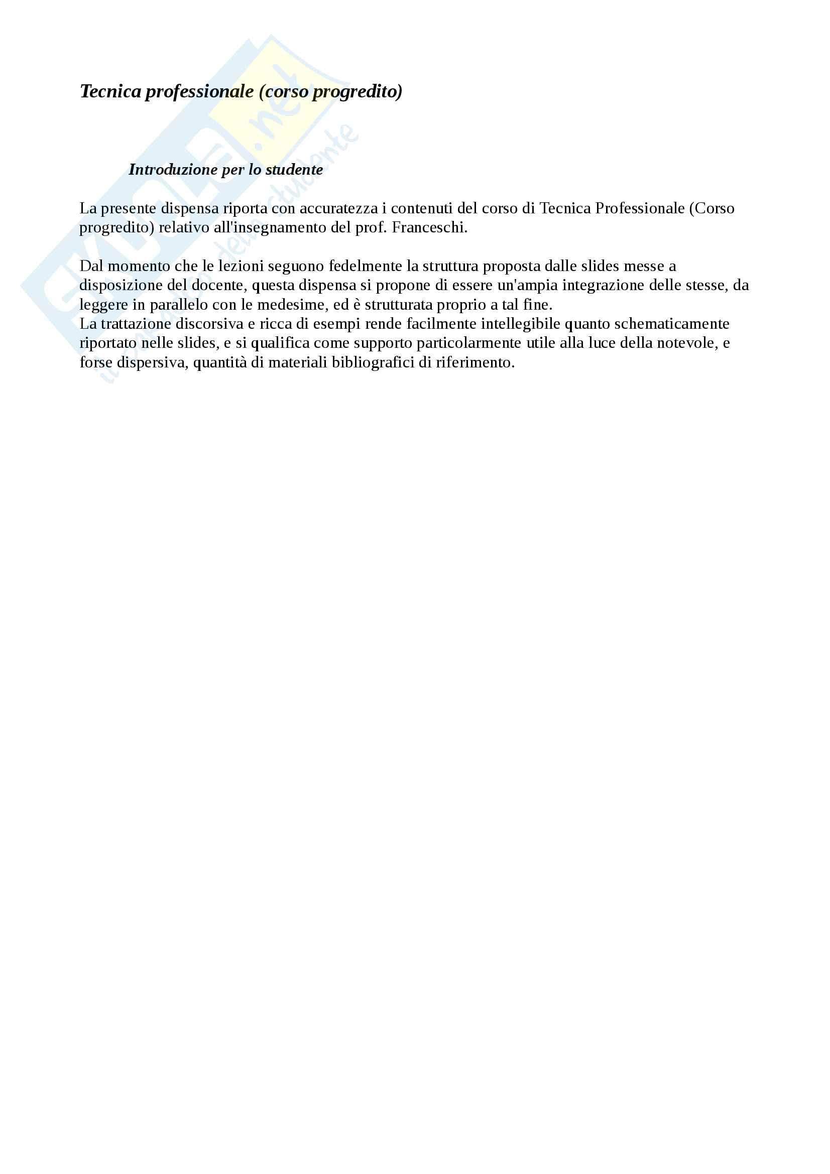 Appunti di Tecnica Professionale (Progredito), Parte 4 di 4