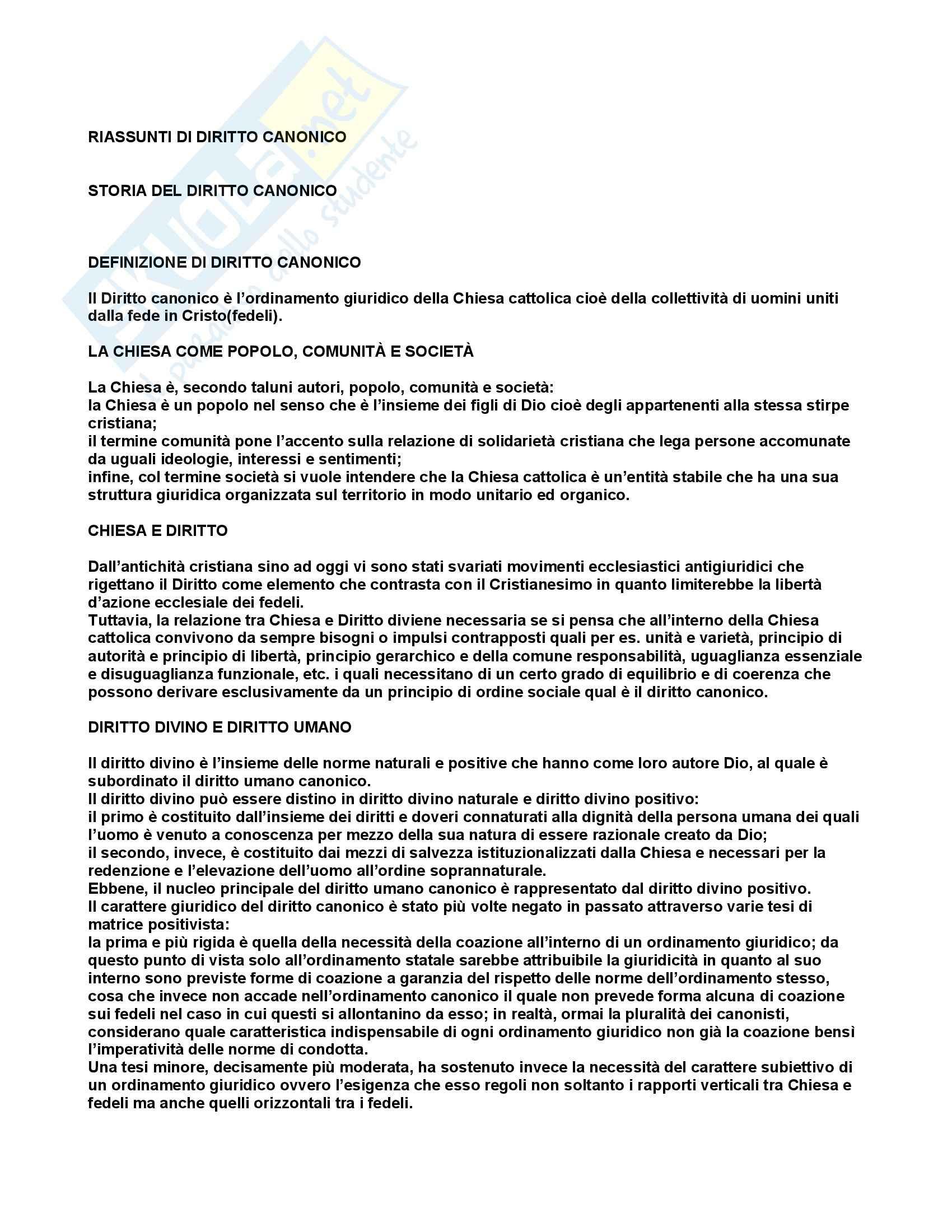 Diritto canonico - Appunti