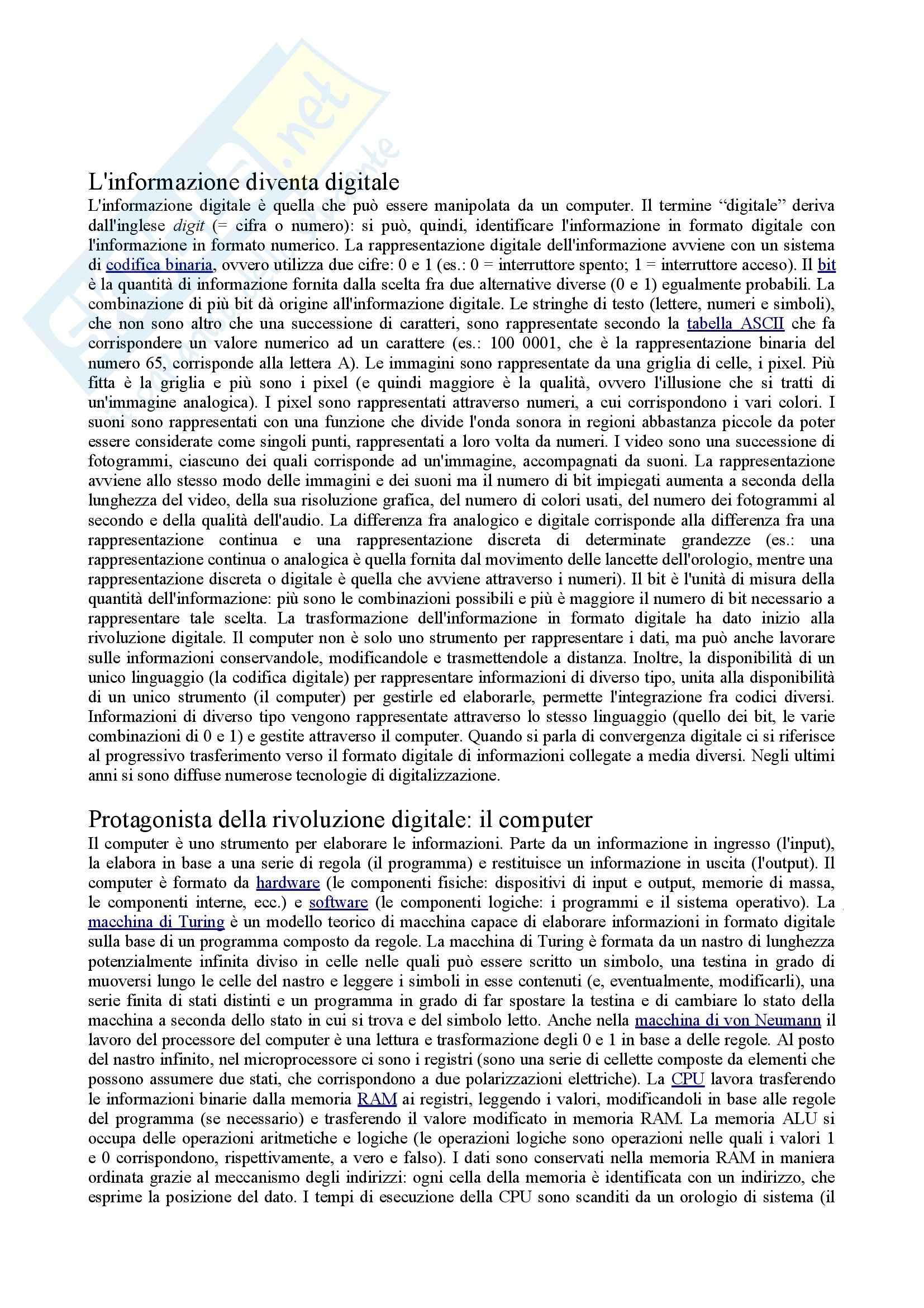 Riassunto esame laboratorio di comunicazione multimediale, Il mondo digitale, Ciotti, Roncaglia, prof. Sangiovanni