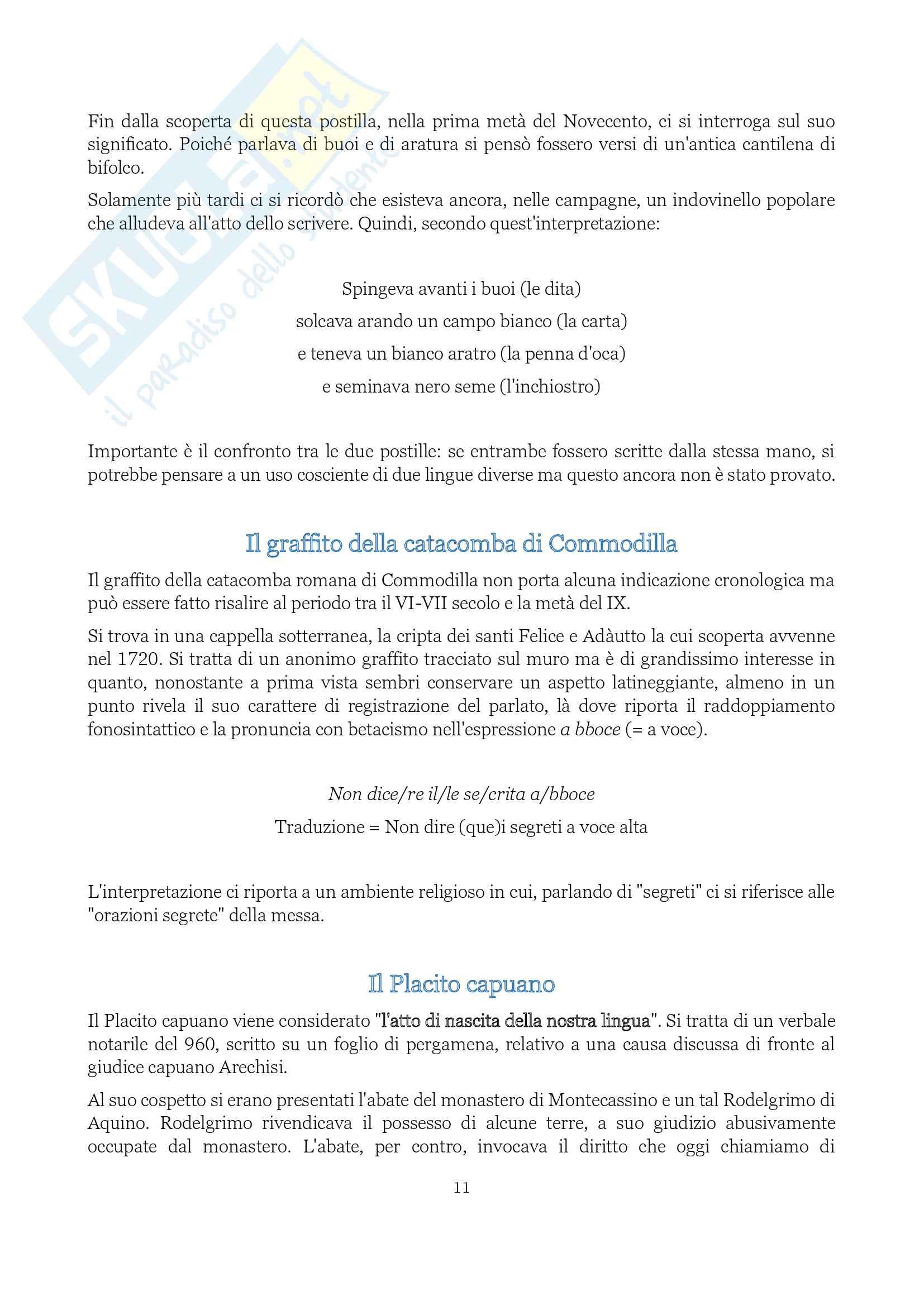 """Riassunto esame Storia della lingua, prof. Colombo, libro consigliato Lingua italiana (storia, testi, strumenti), Marazzini"""" Pag. 11"""