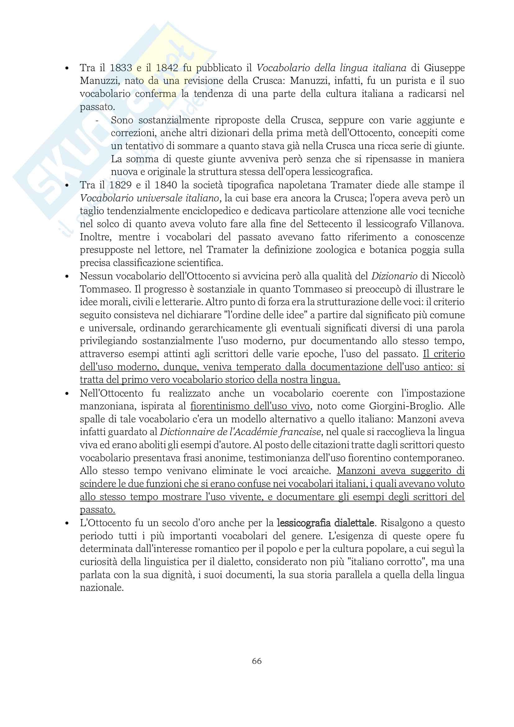"""Riassunto esame Storia della lingua, prof. Colombo, libro consigliato Lingua italiana (storia, testi, strumenti), Marazzini"""" Pag. 66"""
