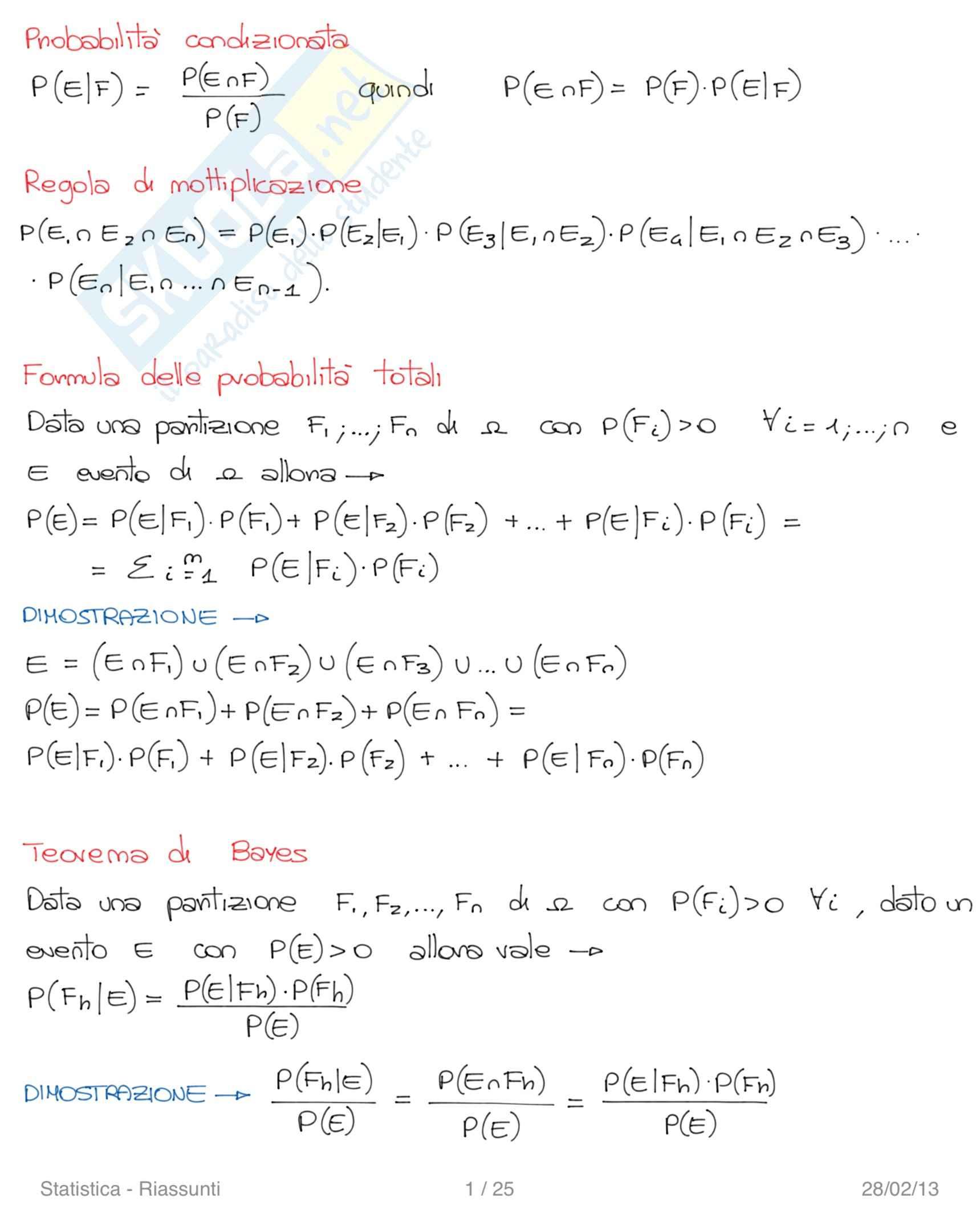Lezioni, Statistica e Calcolo delle Probabilità