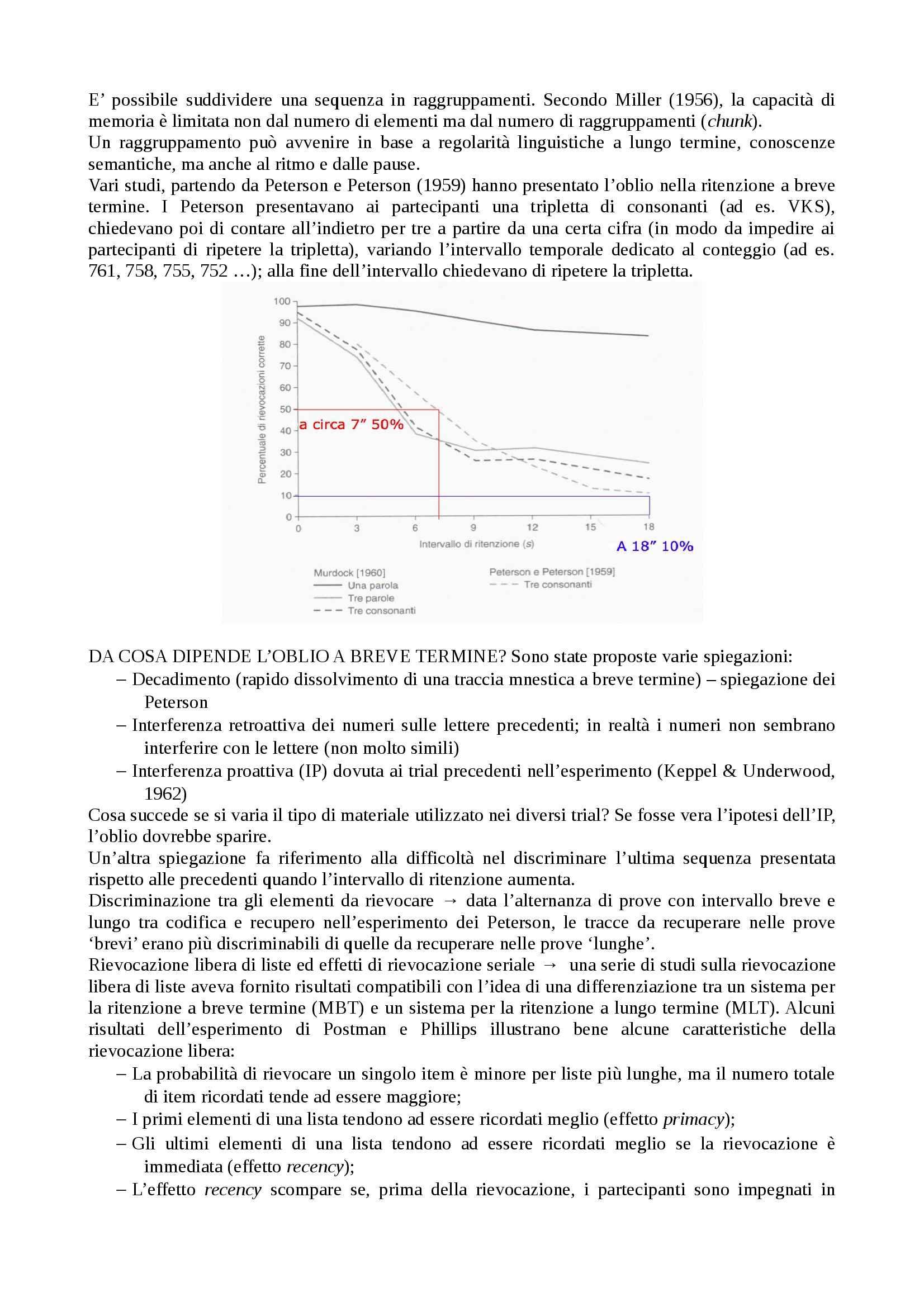 Processi cognitivi - memoria a breve termine e Working Memory Pag. 2