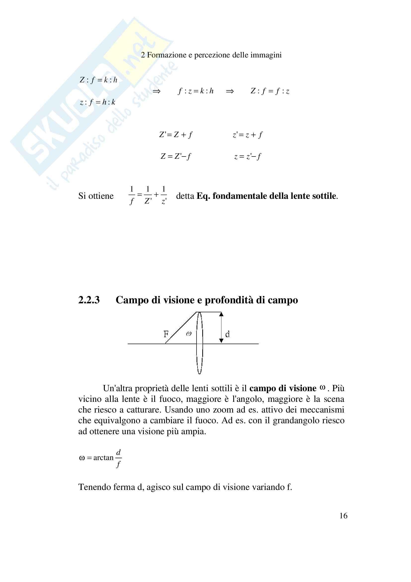 Formazione e percezione delle immagini - Appunti Pag. 16