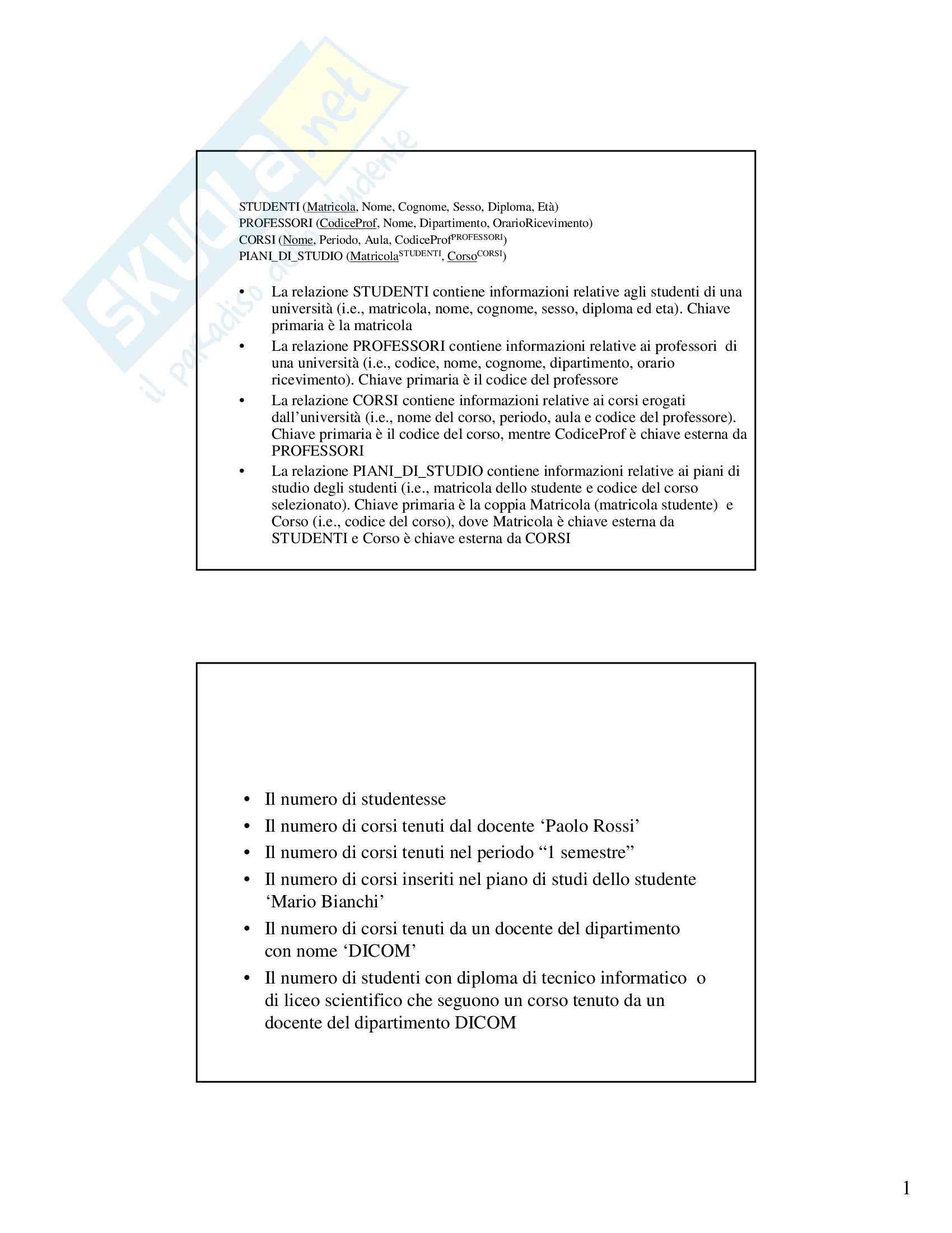 Gestione dati e archivi - Esercizi SQL/2