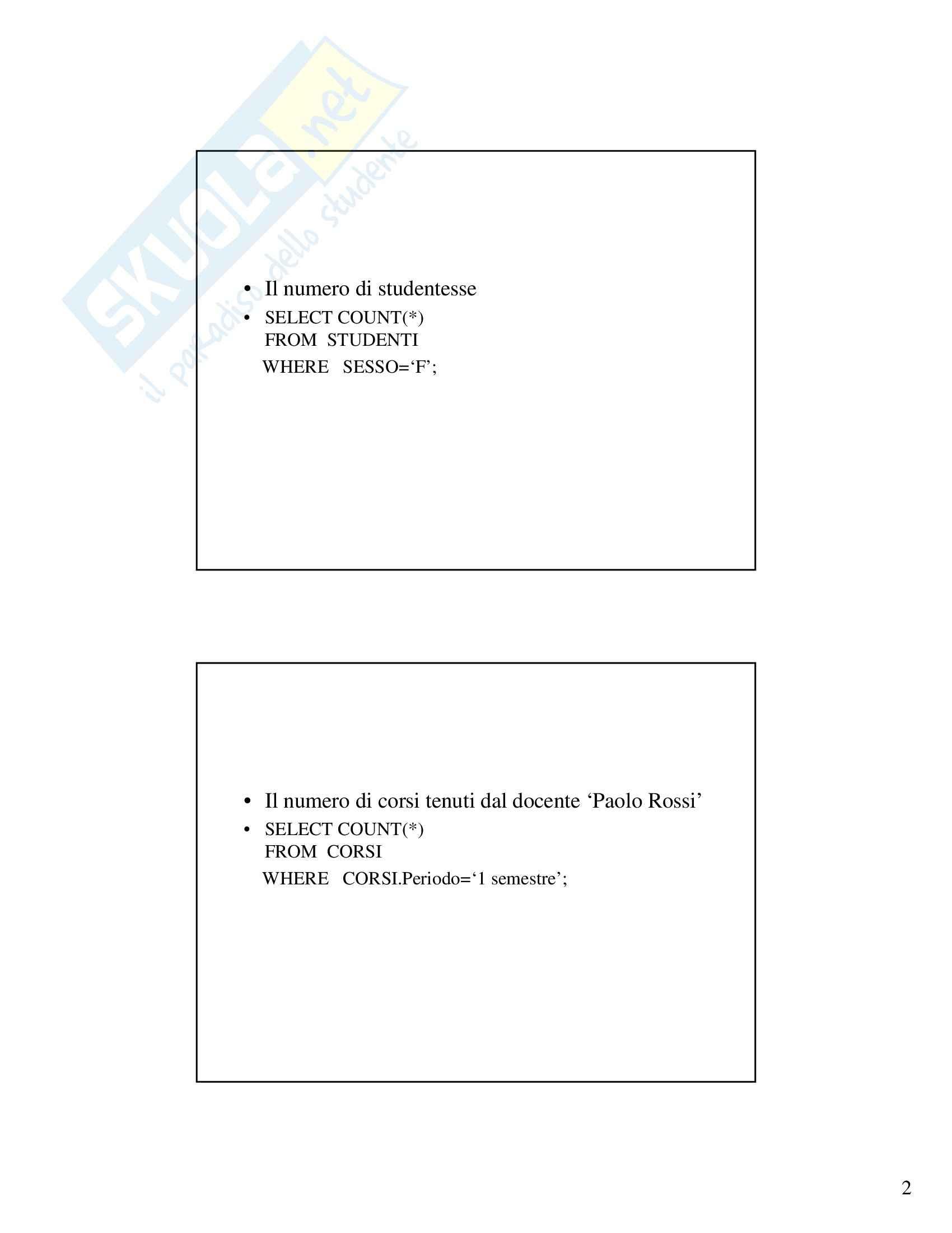 Gestione dati e archivi - Esercizi SQL/2 Pag. 2