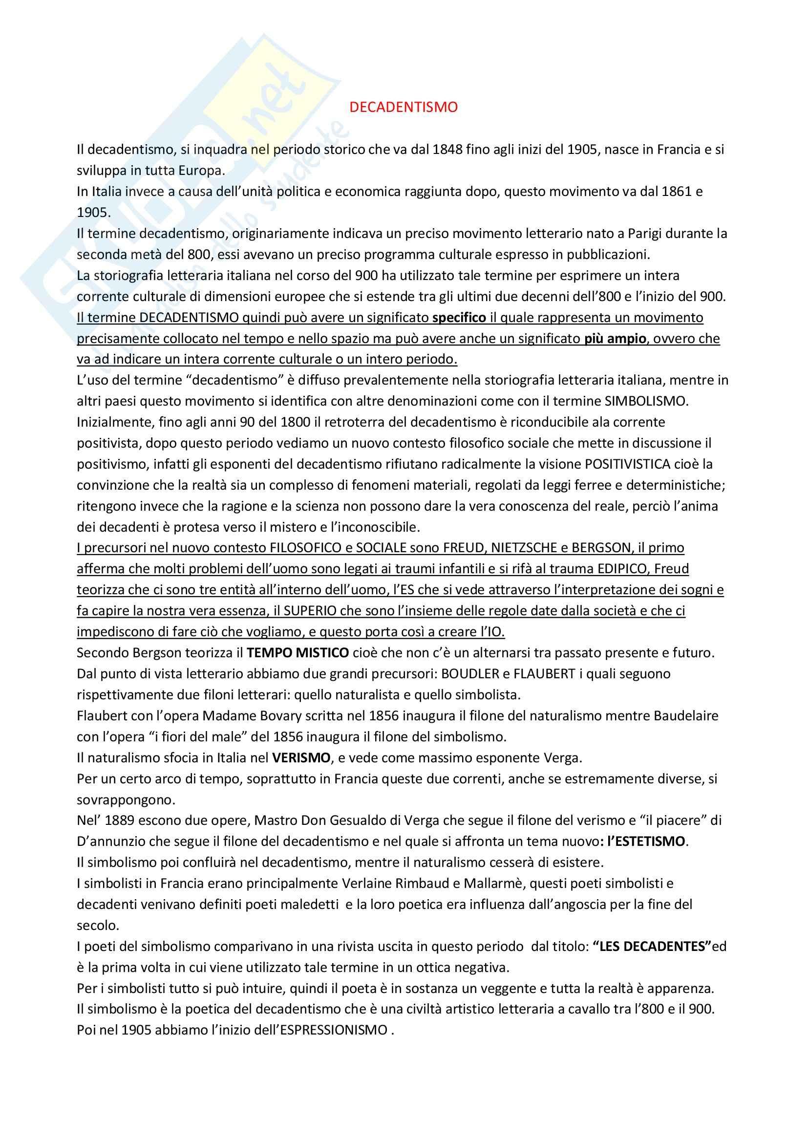 Letteratura italiana - Pascoli e il decadentismo