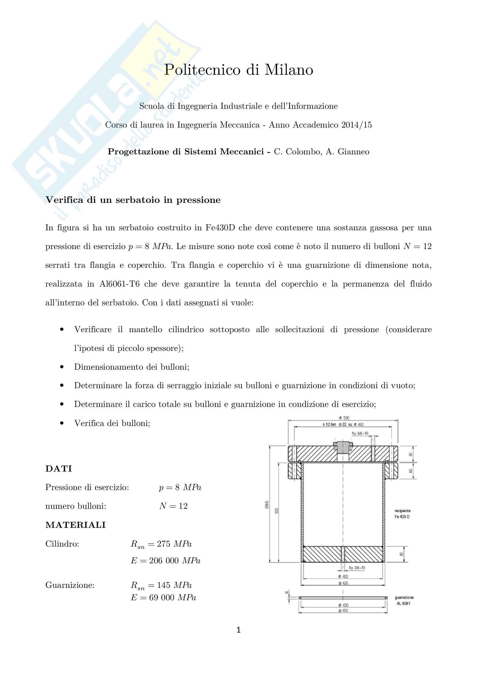 esercitazione C. Colombo Progettazione dei sistemi meccanici