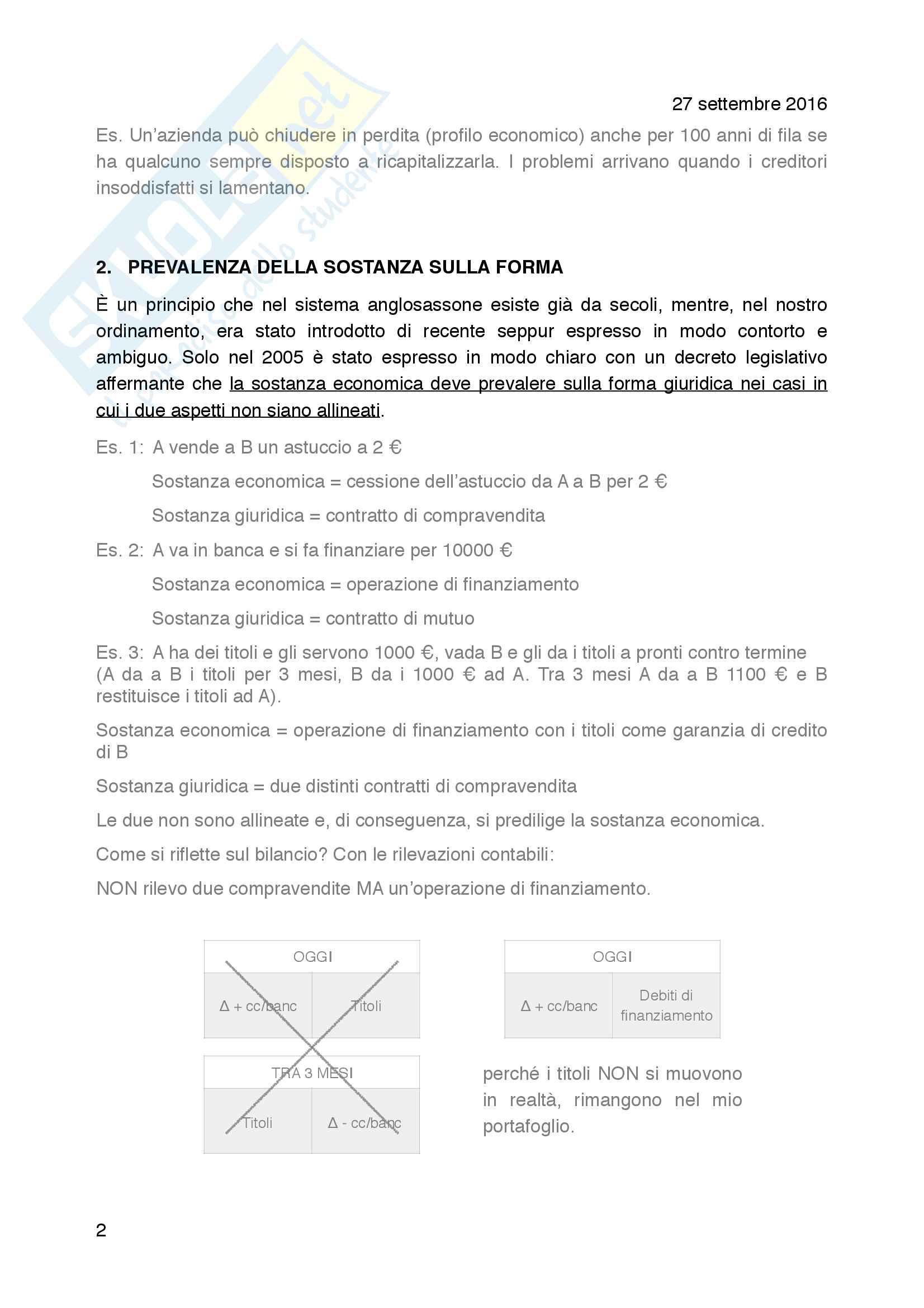 I principi generali di redazione del bilancio Pag. 2