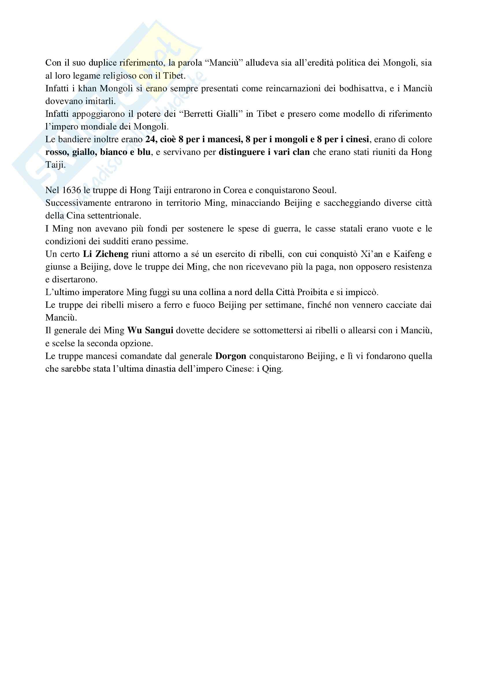 Riassunto esame Storia della Cina, prof. Guida, libro consigliato Cina, una storia millenaria, Vogelsang Pag. 51