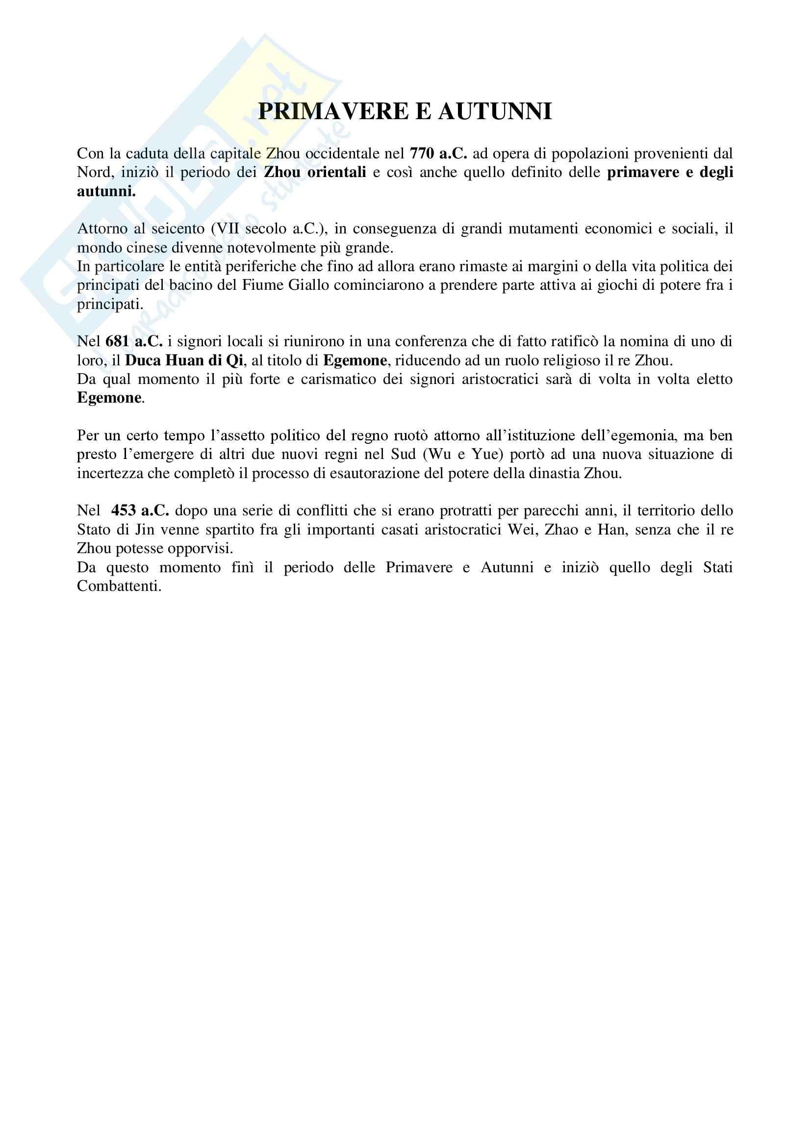 Riassunto esame Storia della Cina, prof. Guida, libro consigliato Cina, una storia millenaria, Vogelsang Pag. 6