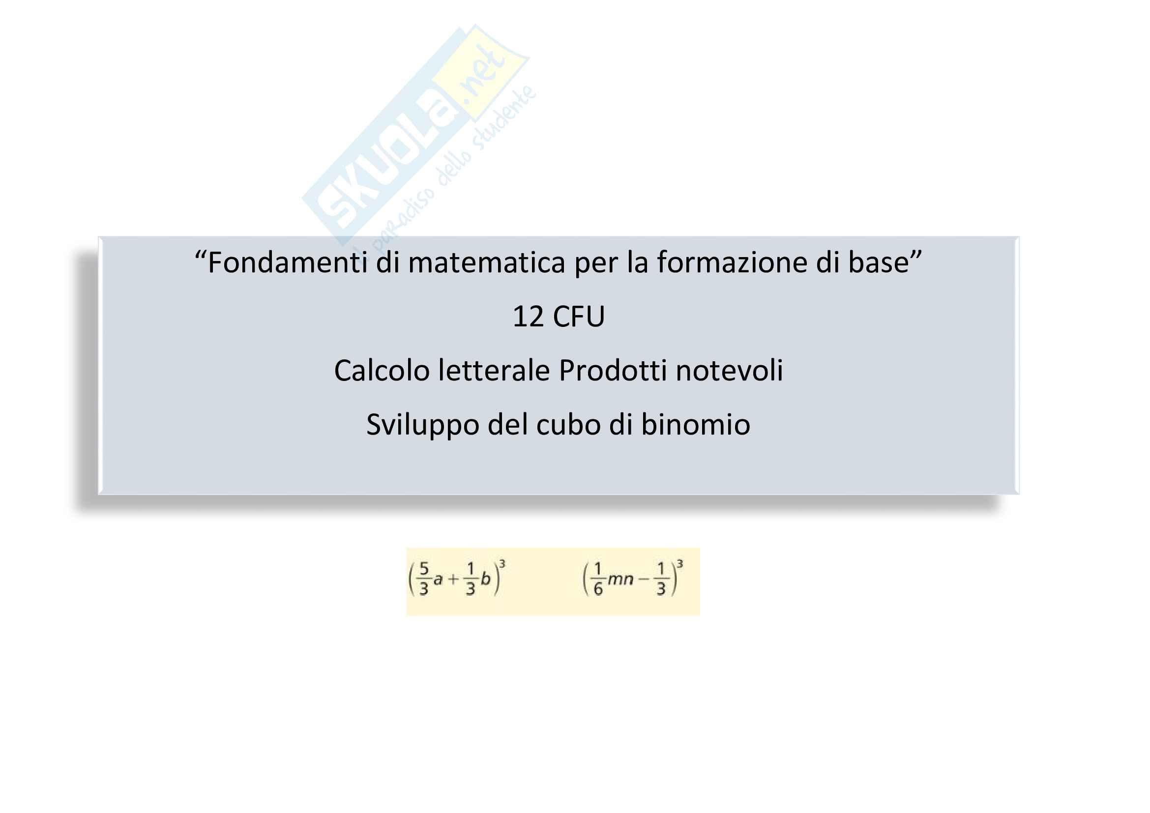 calcolo letterale: Sviluppo del cubo di binomio