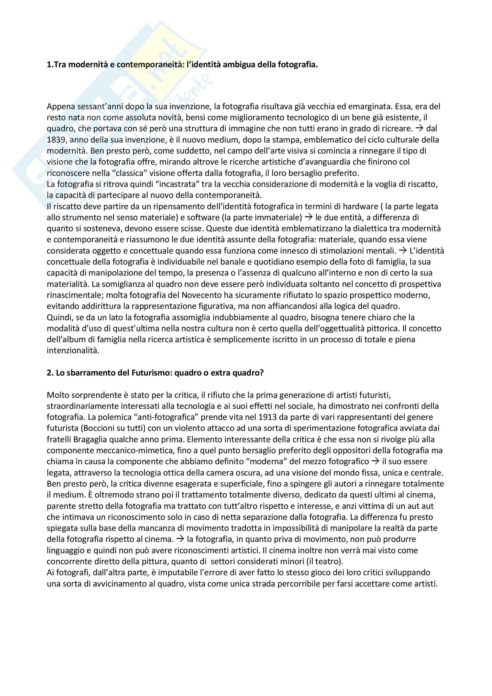 Riassunto esame Storia della Fotografia, prof. Marra, libro consigliato Fotografia e Pittura nel Novecento