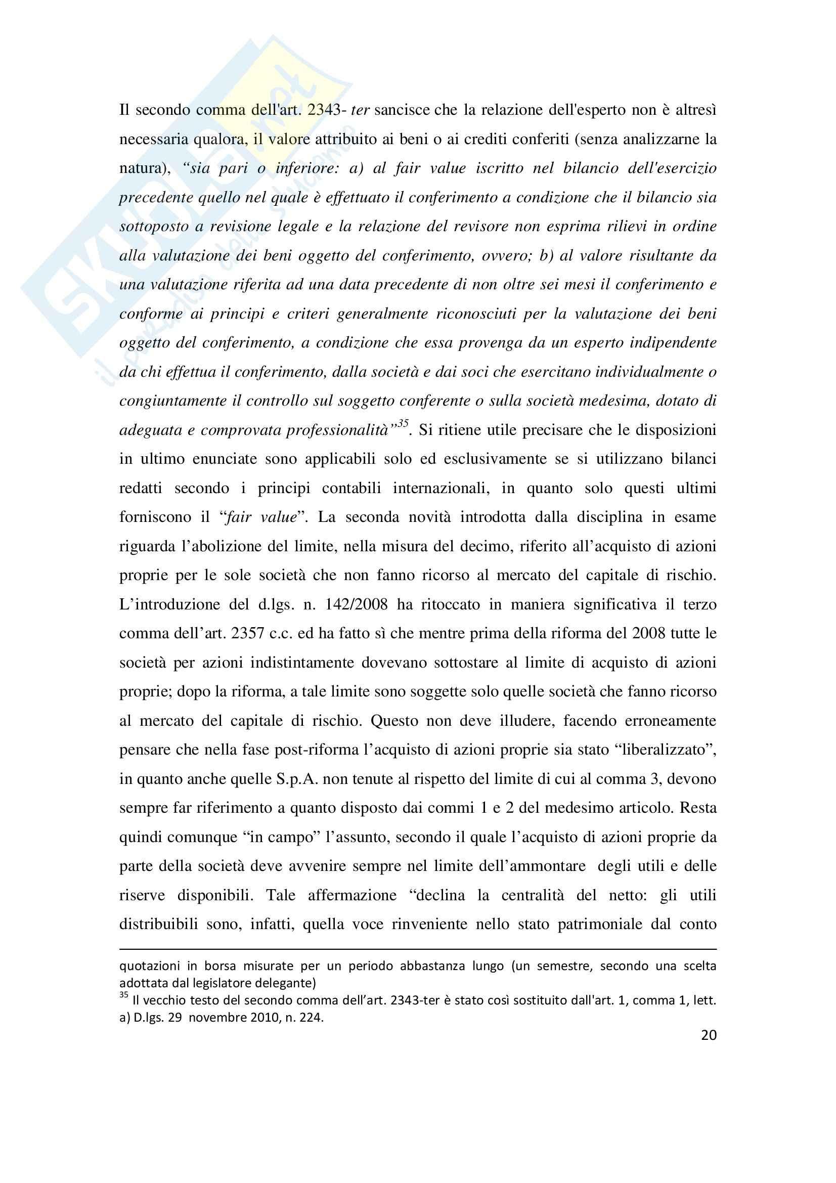La riduzione del capitale sociale per perdite, Tesi Pag. 21