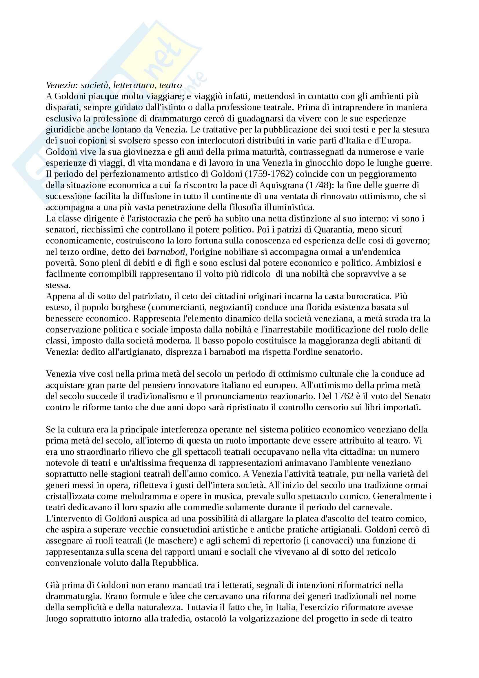 Riassunto esame Storia del Teatro Moderno e Contemporaneo, prof. Guardenti, libro consigliato La Vita e il Teatro di Carlo Goldoni, Ferrone