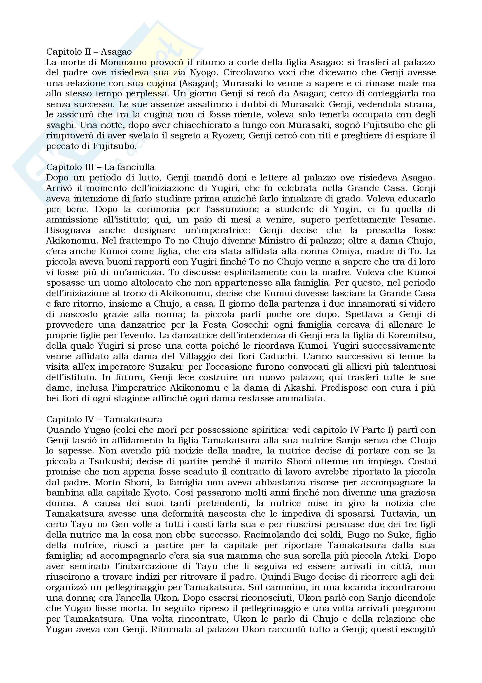 Riassunto esame Letteratura giapponese I, prof. Giordano, libro consigliato Genji monogatari, Shikibu Pag. 11