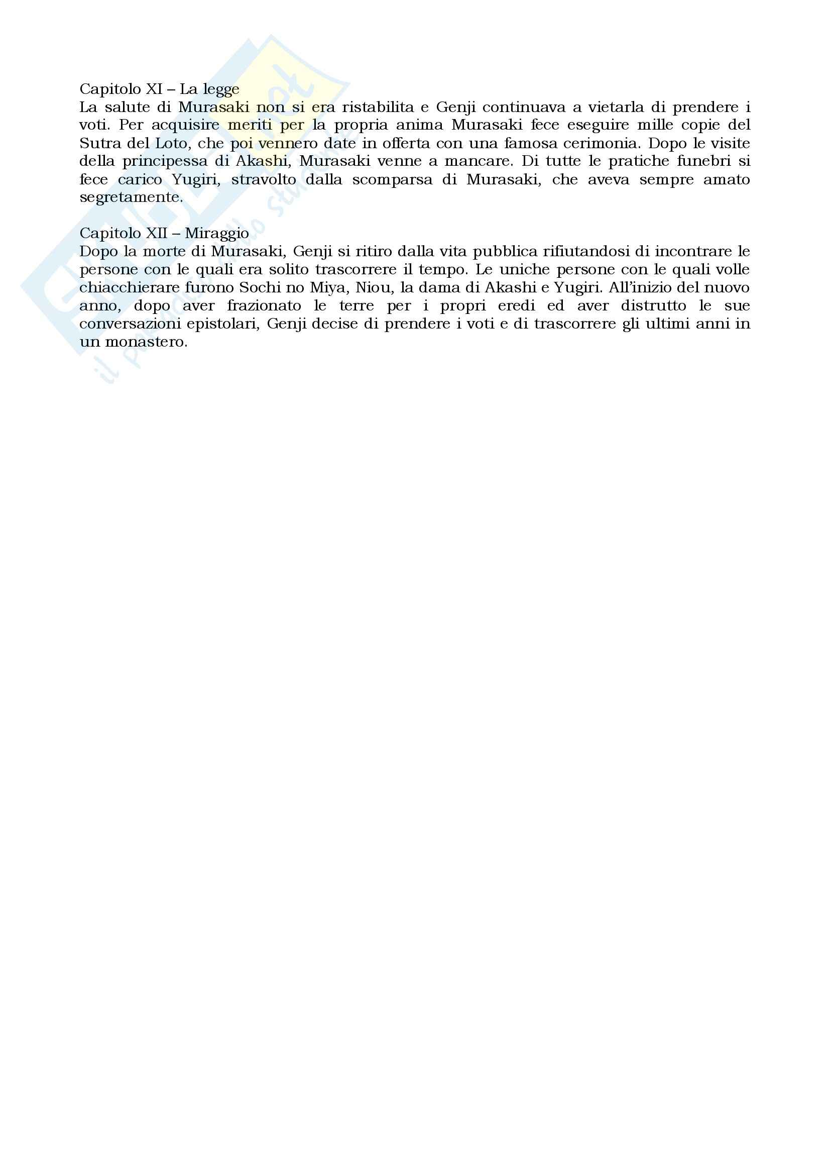 Riassunto esame Letteratura giapponese I, prof. Giordano, libro consigliato Genji monogatari, Shikibu Pag. 16