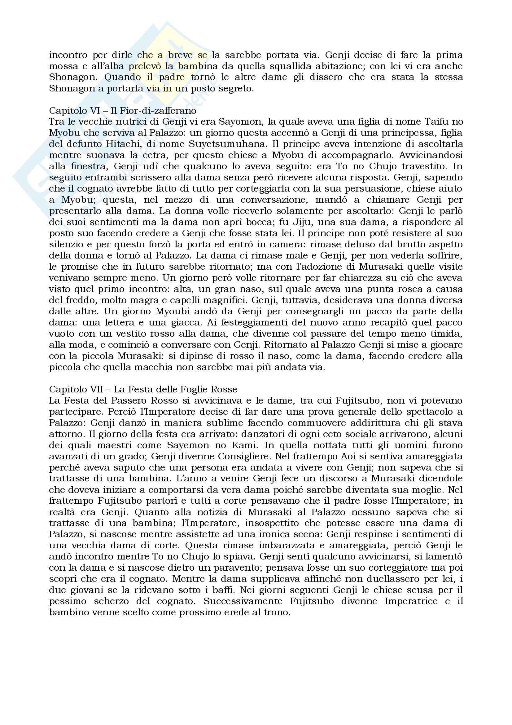 Riassunto esame Letteratura giapponese I, prof. Giordano, libro consigliato Genji monogatari, Shikibu Pag. 6