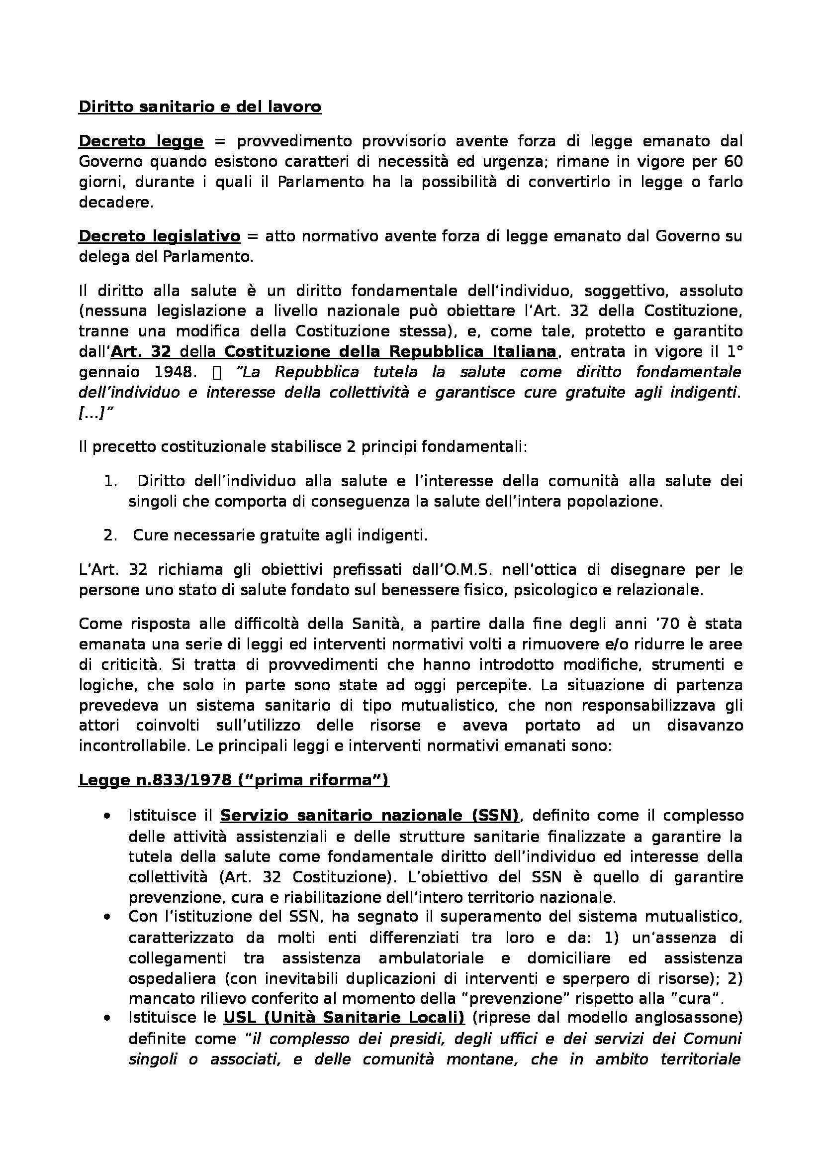 Diritto sanitario e del lavoro - Appunti