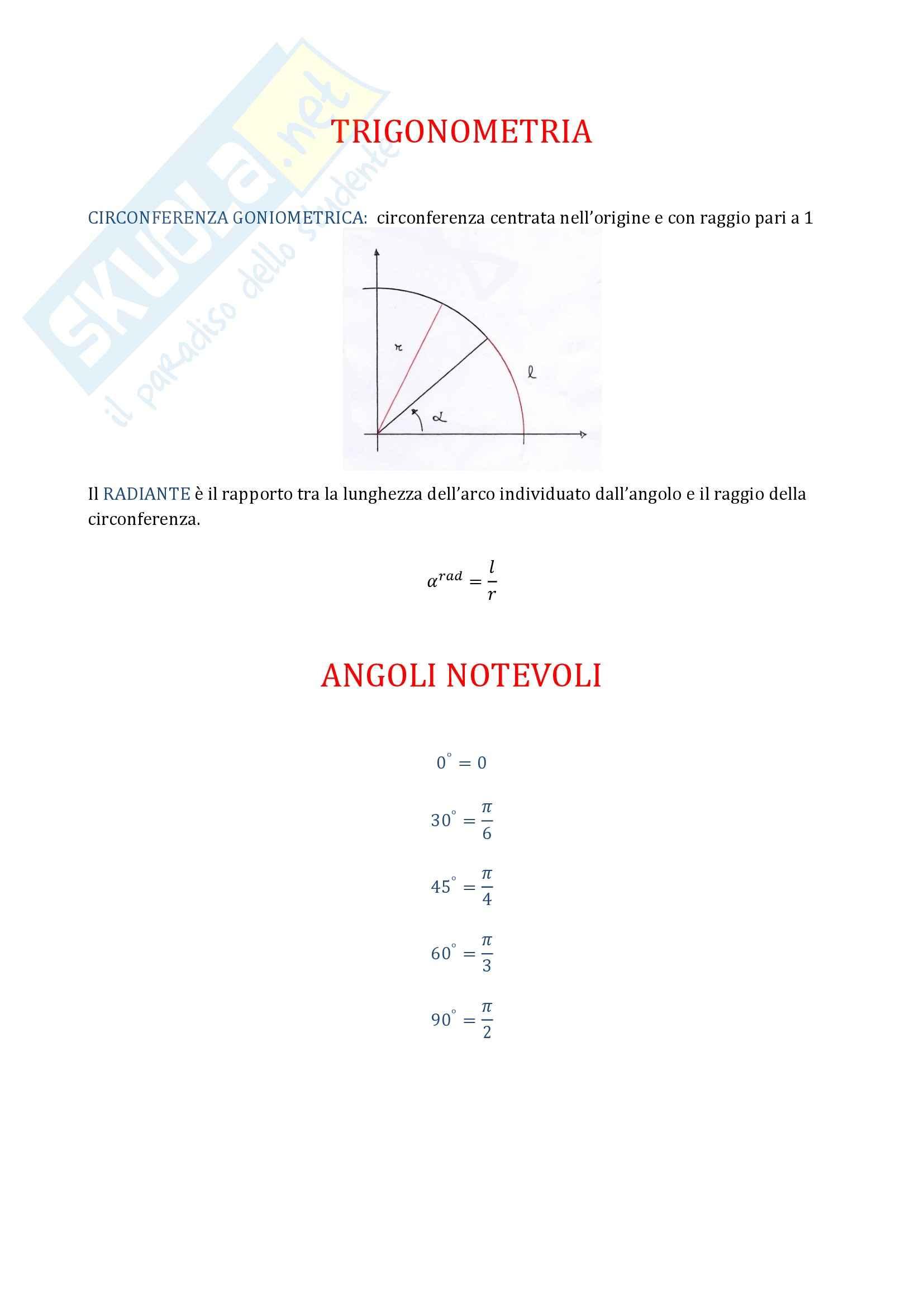 Analisi matematica 1 - Funzioni Trigonometriche