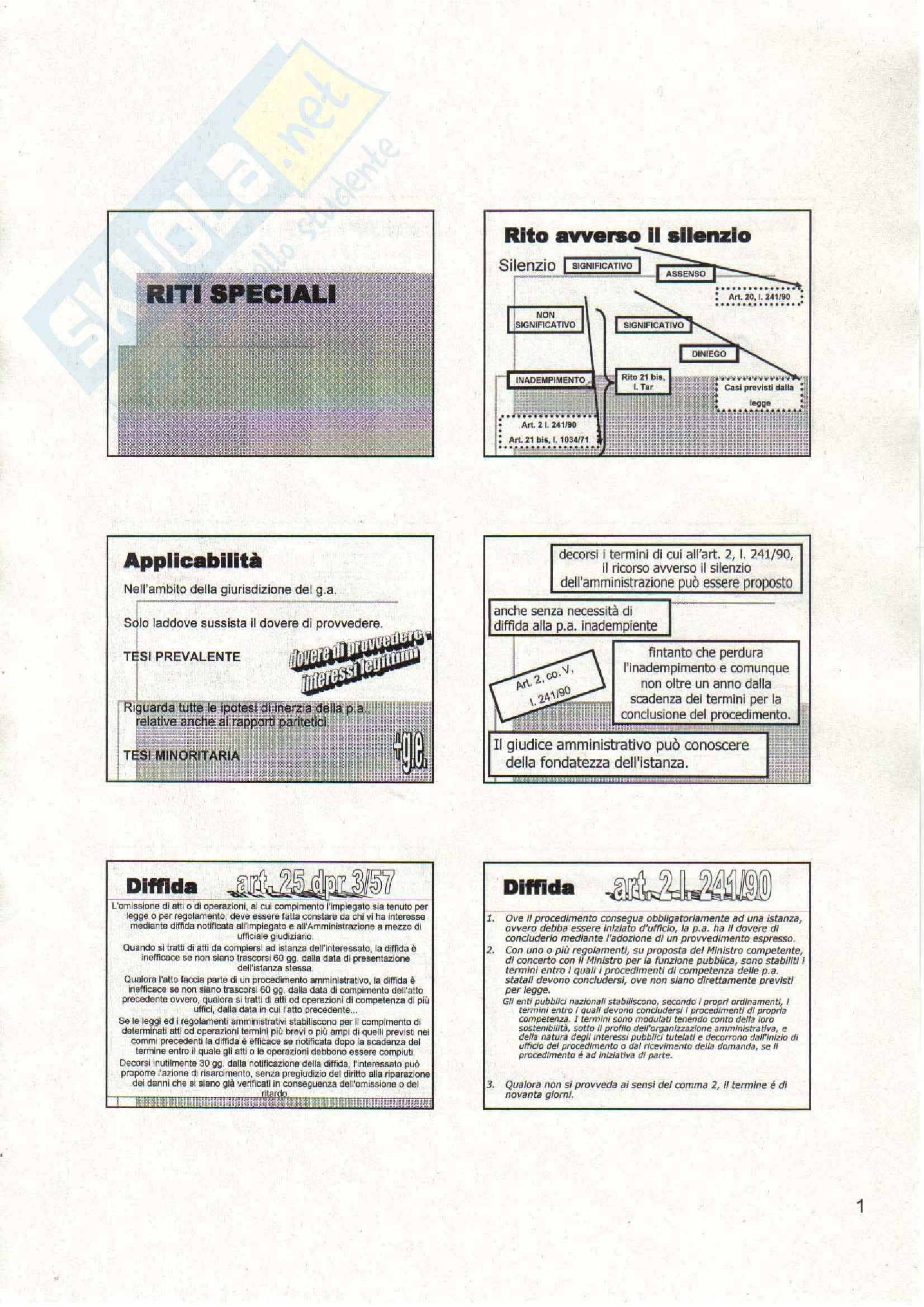 Diritto amministrativo - riti amministrativi speciali - Appunti