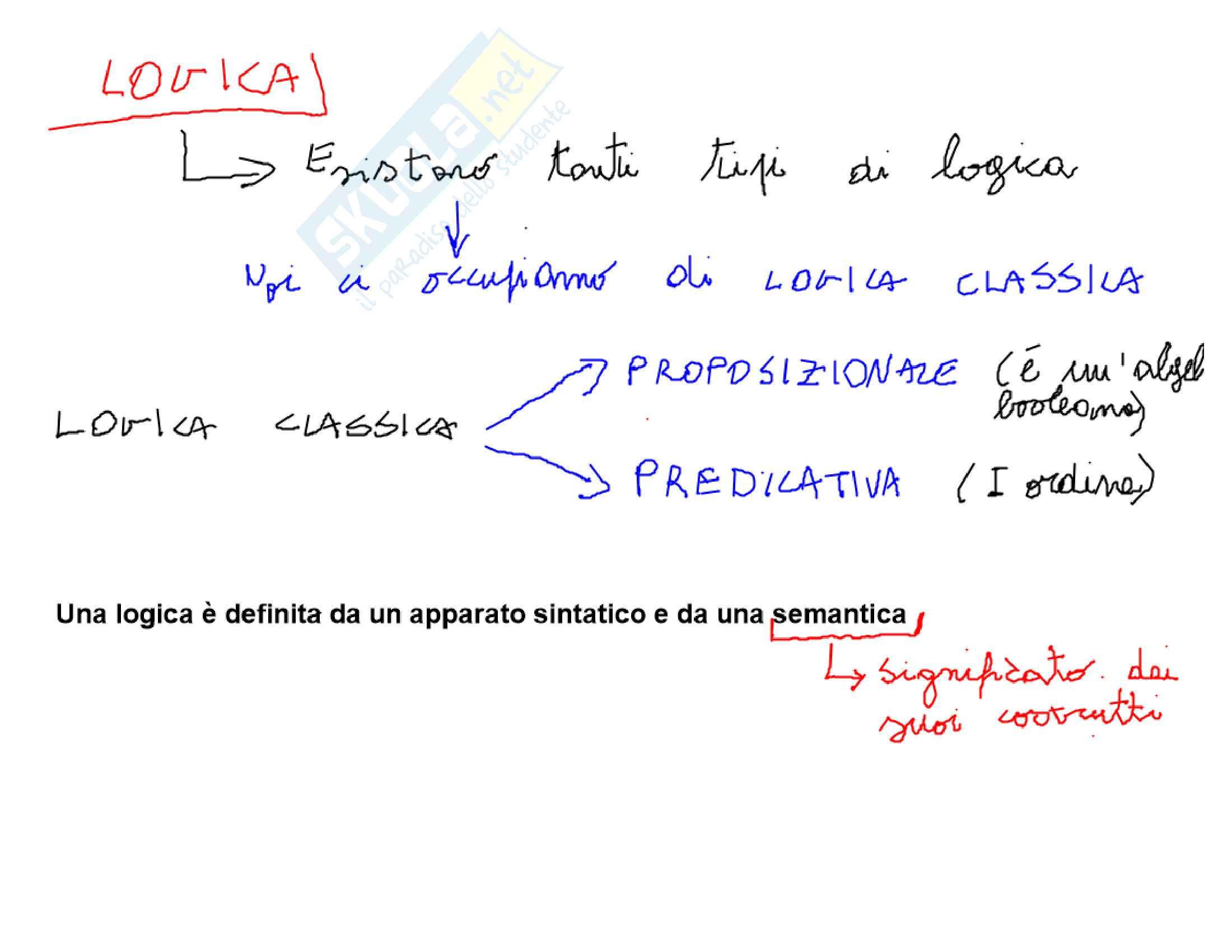 Appunti logica proposizionale e predicativa
