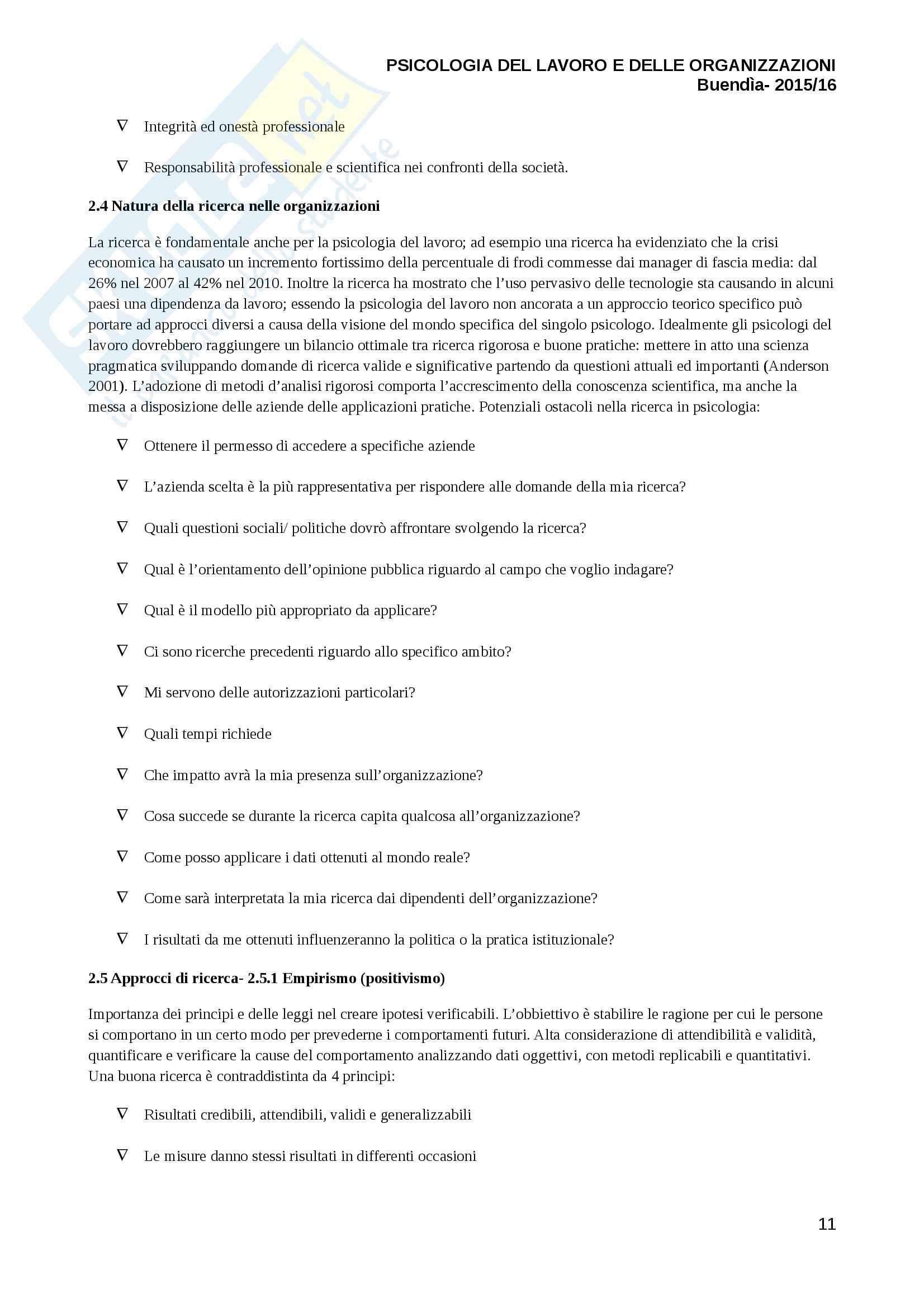 Riassunto esame psicologia del lavoro, prof Luca Vecchio, libro consigliato Psicologia del lavoro e delle organizzazioni, Ashleigh Pag. 11