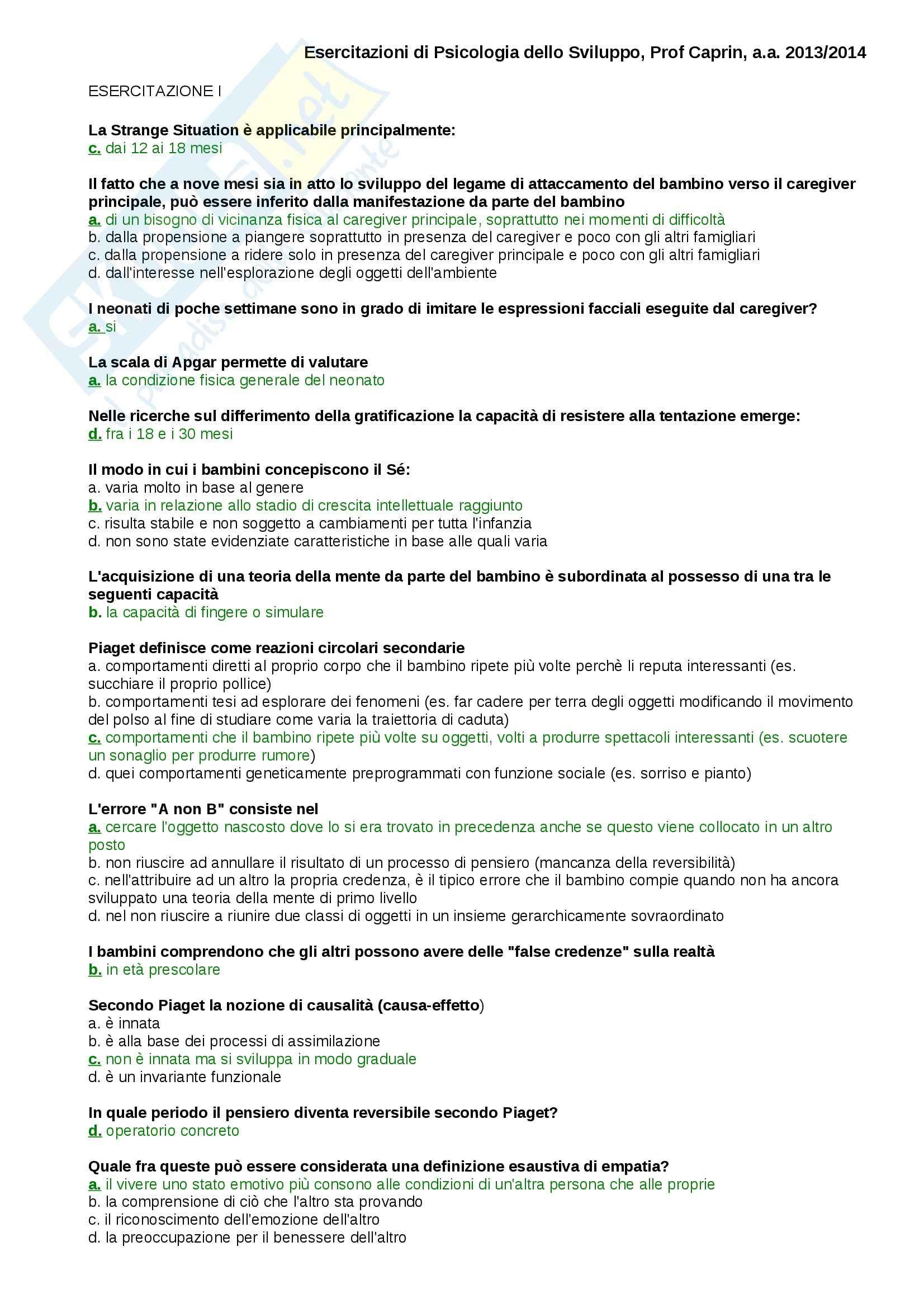 Domande svolte, Psicologia dello Sviluppo