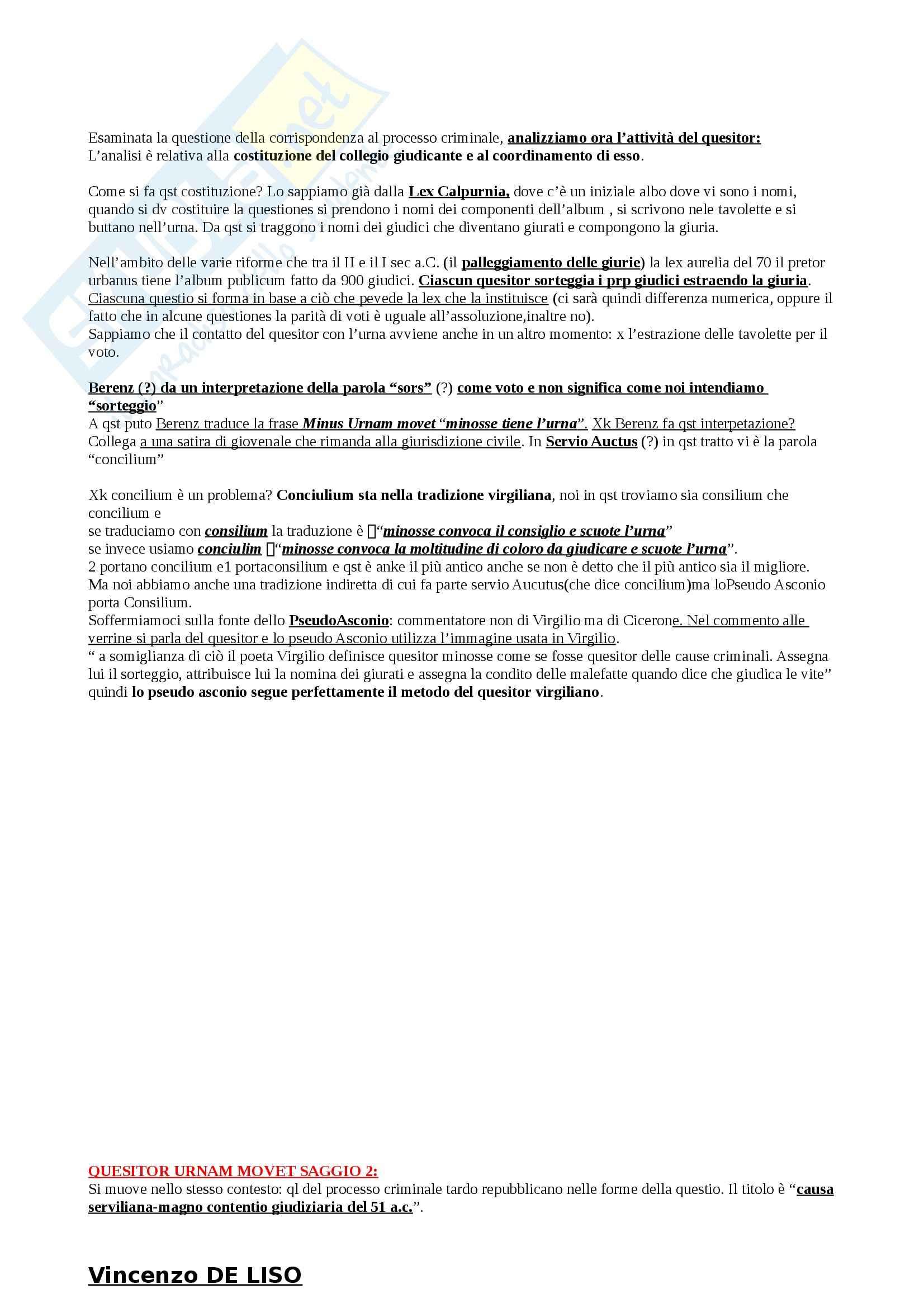 Riassunto esame Storia del Diritto Romano, prof. Cascione, libro consigliato Quesitor Urnam Movet, Masi Doria Pag. 2