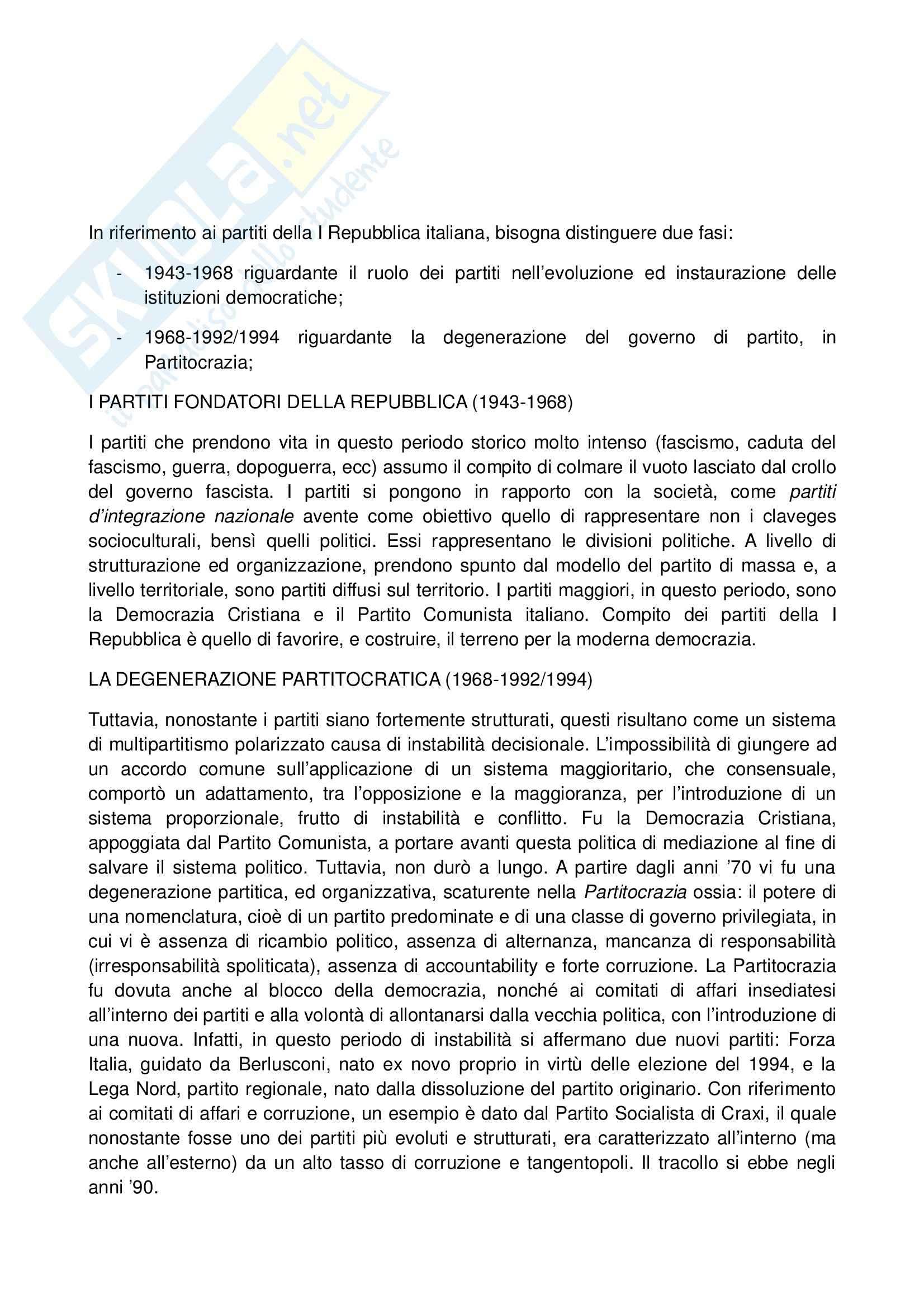 Riassunto esame Scienza Politica, prof. Massari, libro consigliato La Parabola dei Partiti in Italia