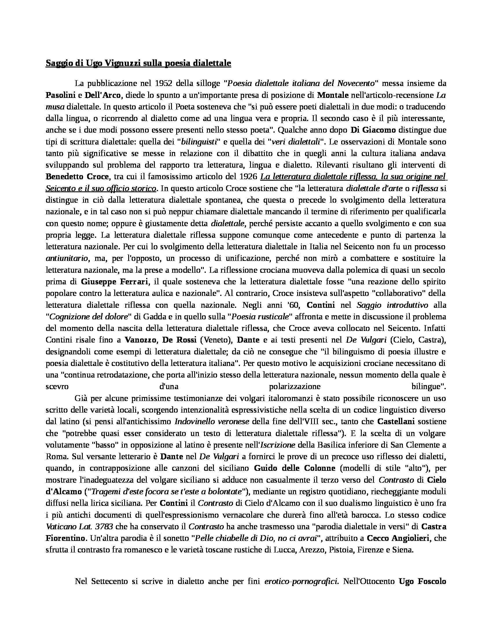 Dispense esame Dialettologia italia, prof. Ugo Vignuzzi, A.A. 2014/2015
