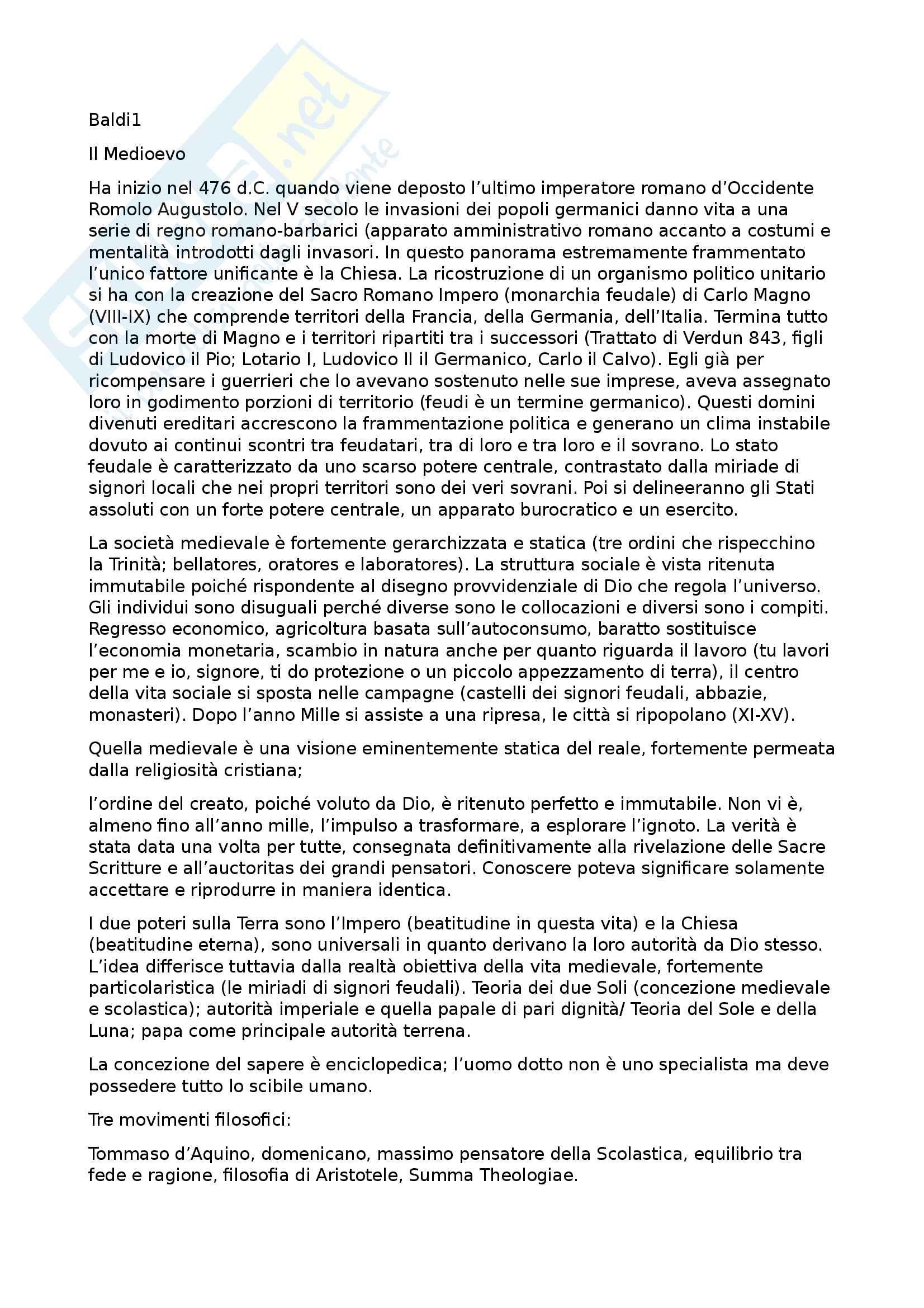 Riassunto esame letteratura italiana, prof. Battistini, libro consigliato Il piacere dei testi, Baldi (1, 2, 3, 4, 5)