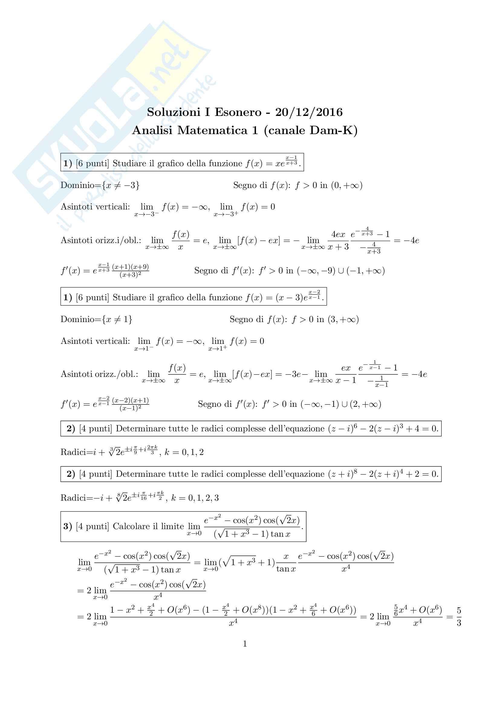 Testi d'esame con soluzioni - Analisi Matematica 1