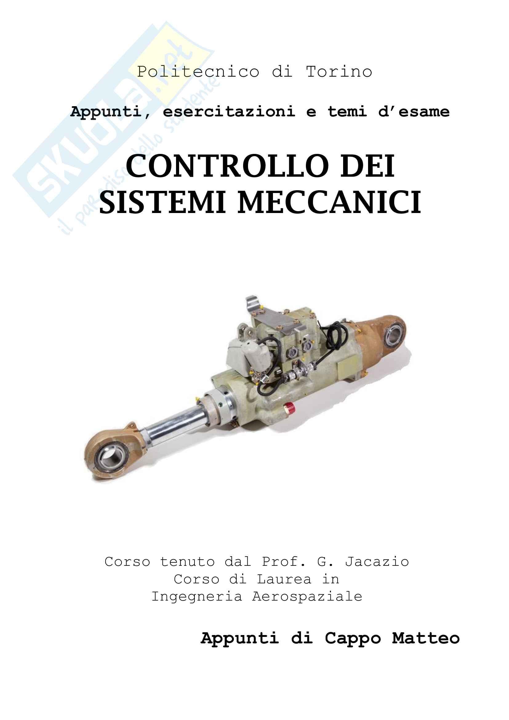 Controllo dei Sistemi Meccanici - Appunti ed esercizi