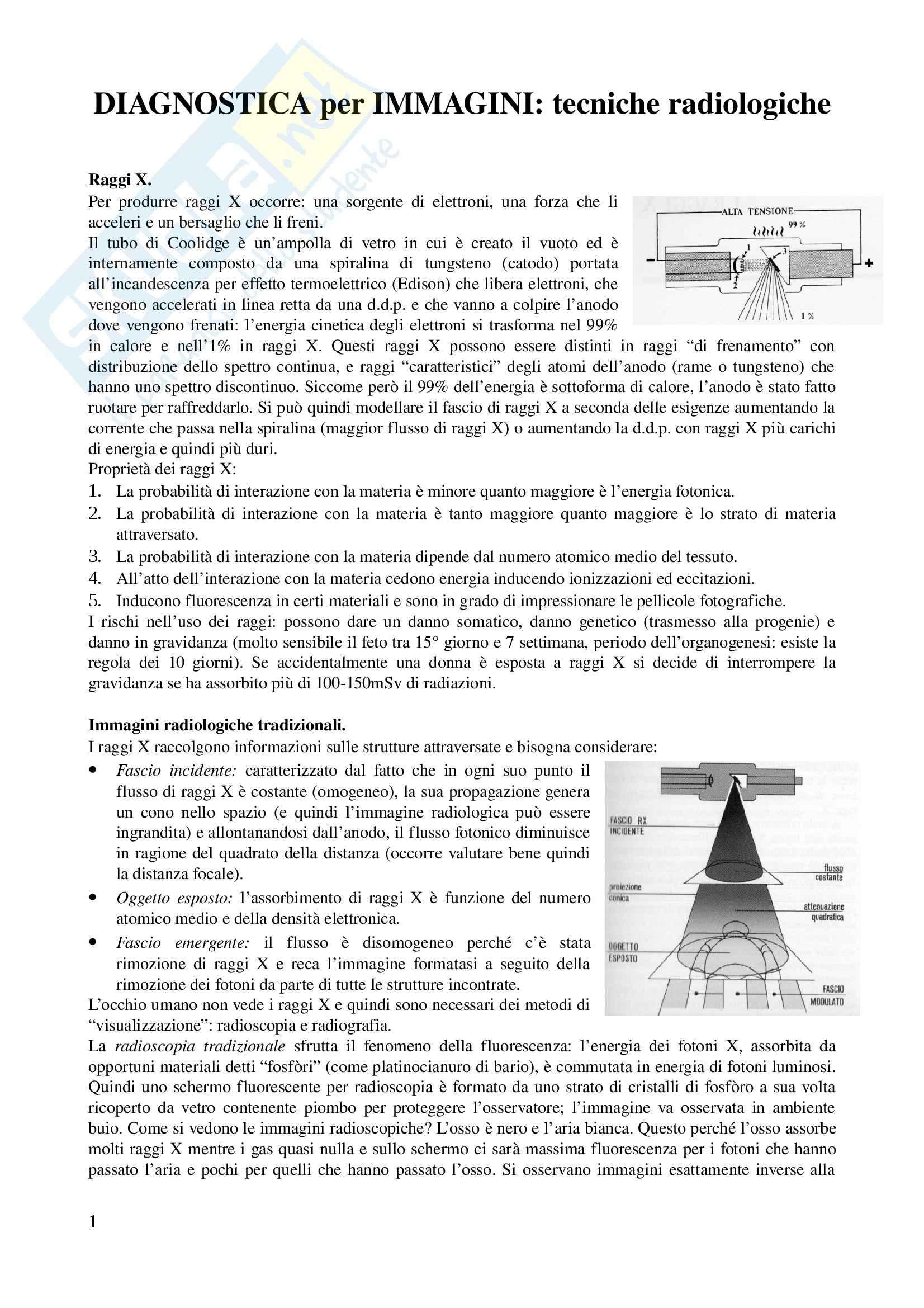 Riassunto esame Diagnostica per Immagini e radioterapia, prof. Carriero