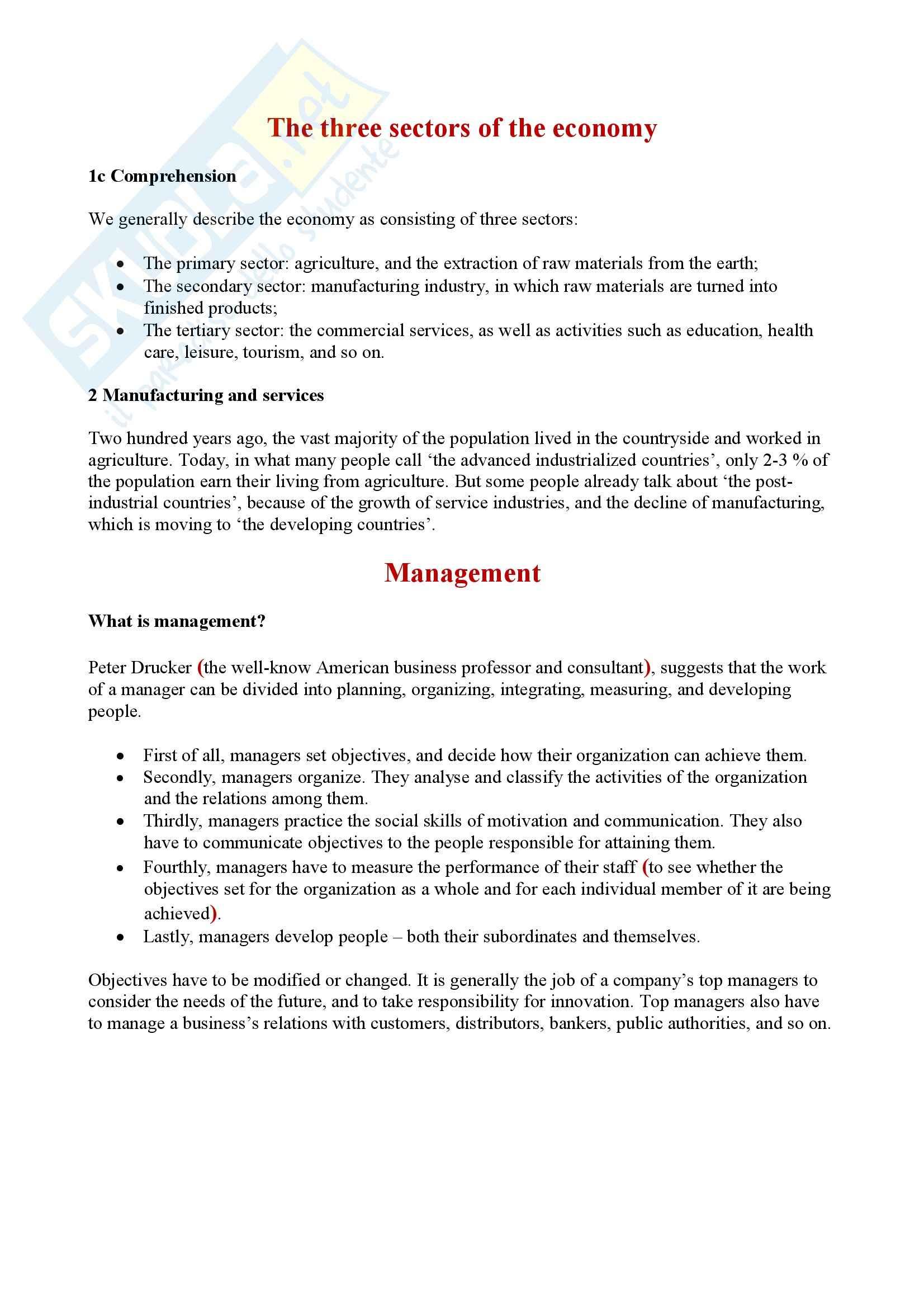 Brani commerciali inglese - Riassunto esame, prof. Marino