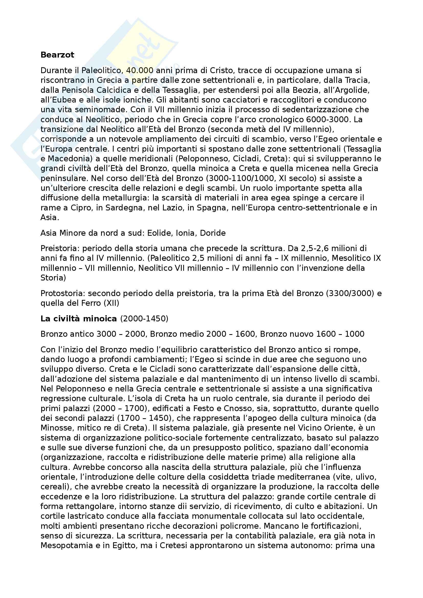 Riassunto di storia greca, libro consigliato: Manuale di storia greca, Cinzia Bearzot