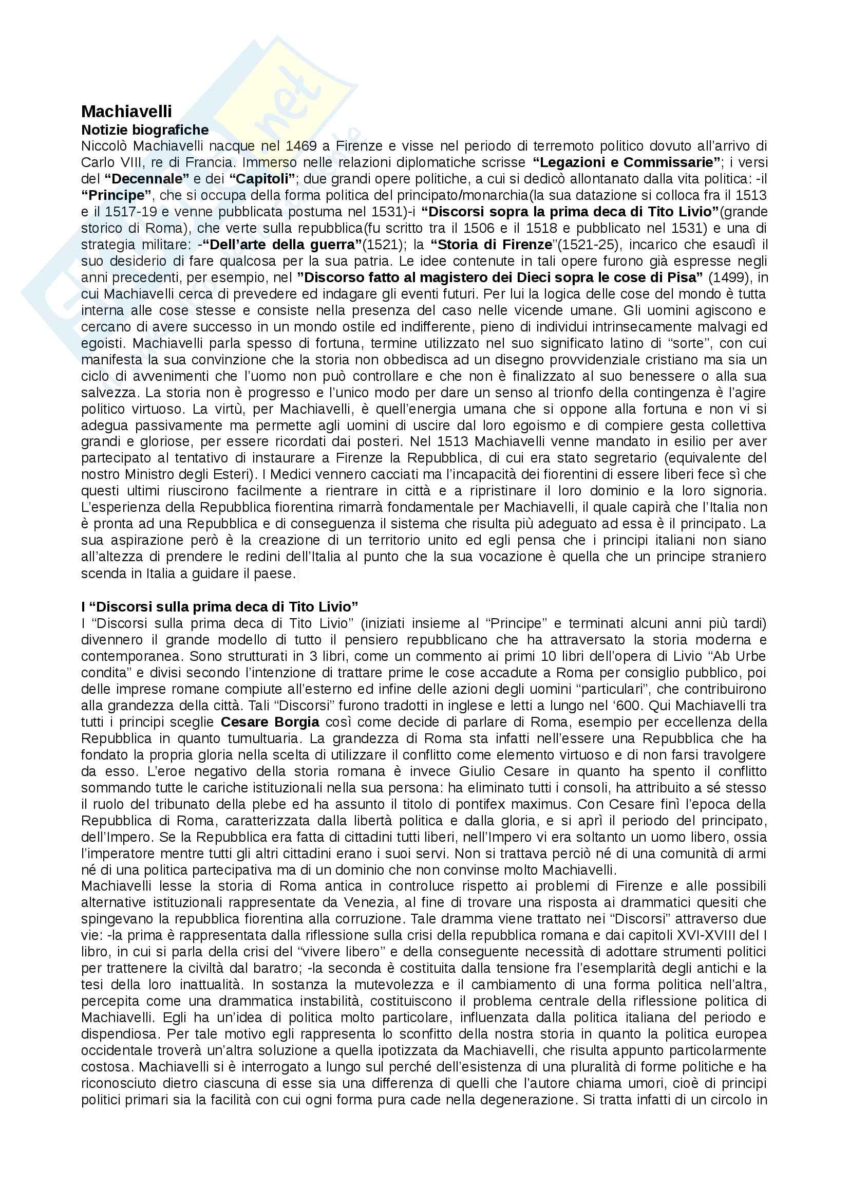 Riassunto esame di Storia delle dottrine politiche, libro consigliato Manuale di storia del pensiero politico di Carlo Galli
