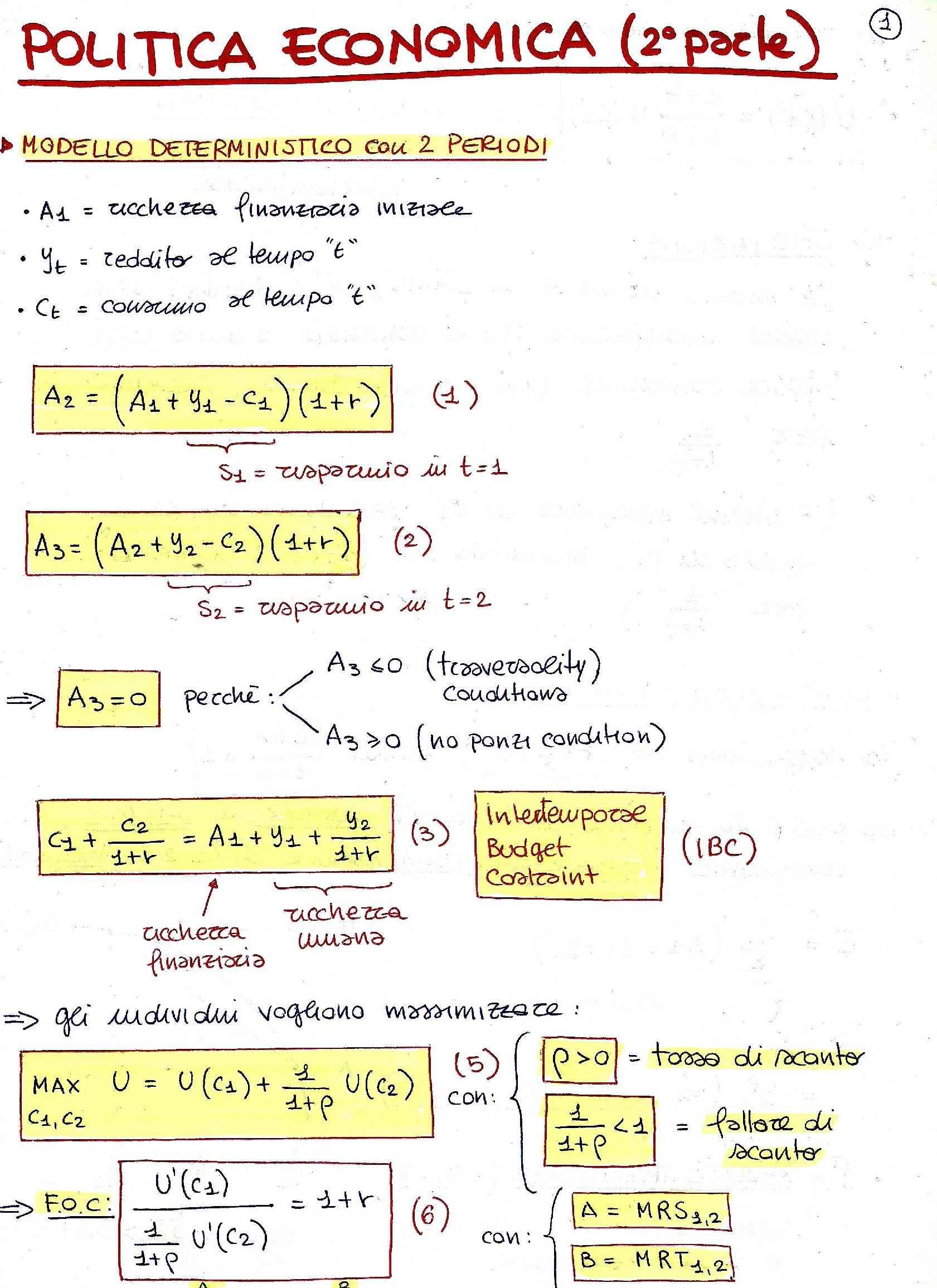 Politica economica - Appunti completi delle lezioni (seconda parte)