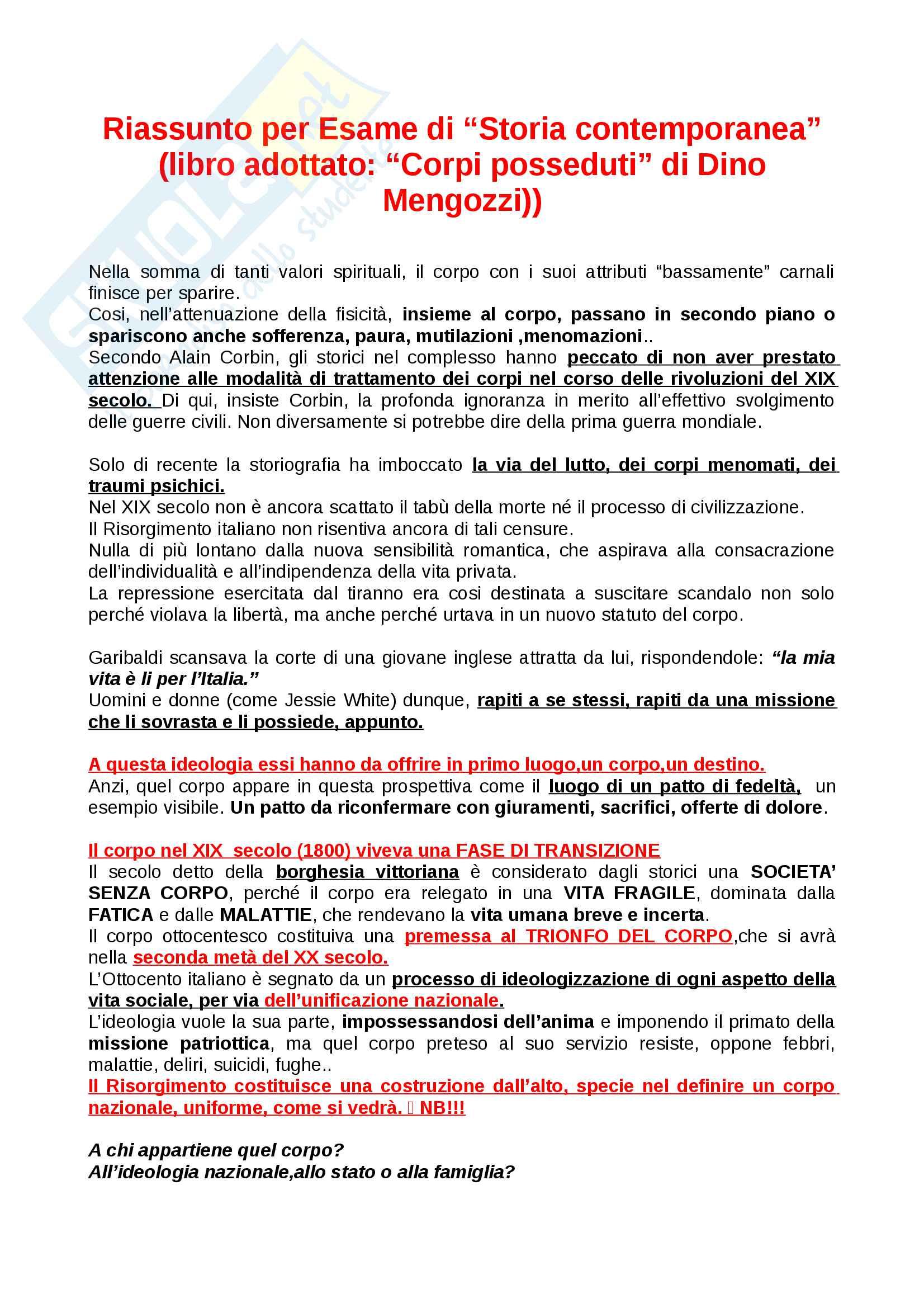"""Riassunto esame Storia Contemporanea, prof. Dino Mengozzi, """"Corpi posseduti"""" di Dino Mengozzi"""