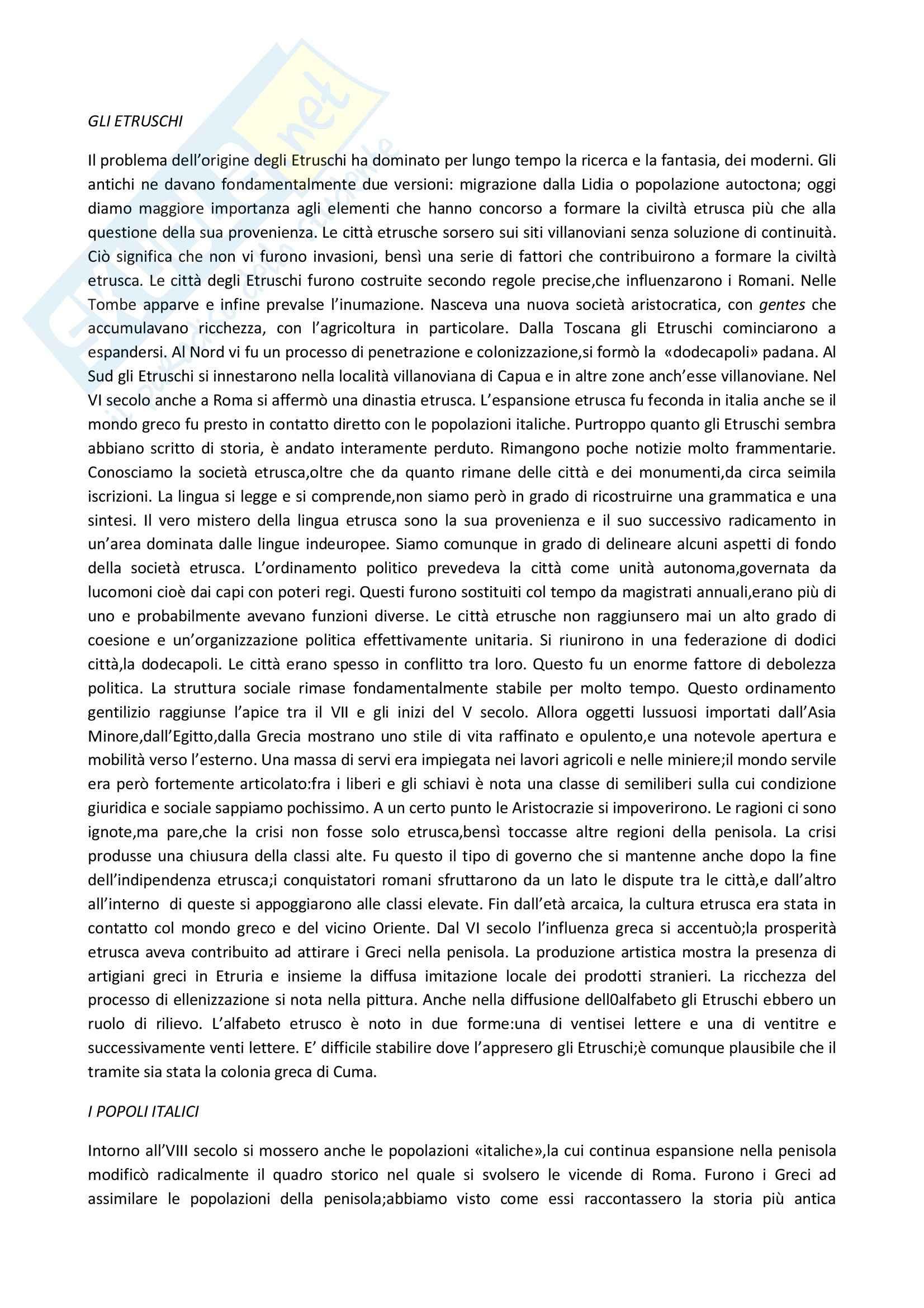 Storia romana - le origine italiche e la nascita di Roma Pag. 2