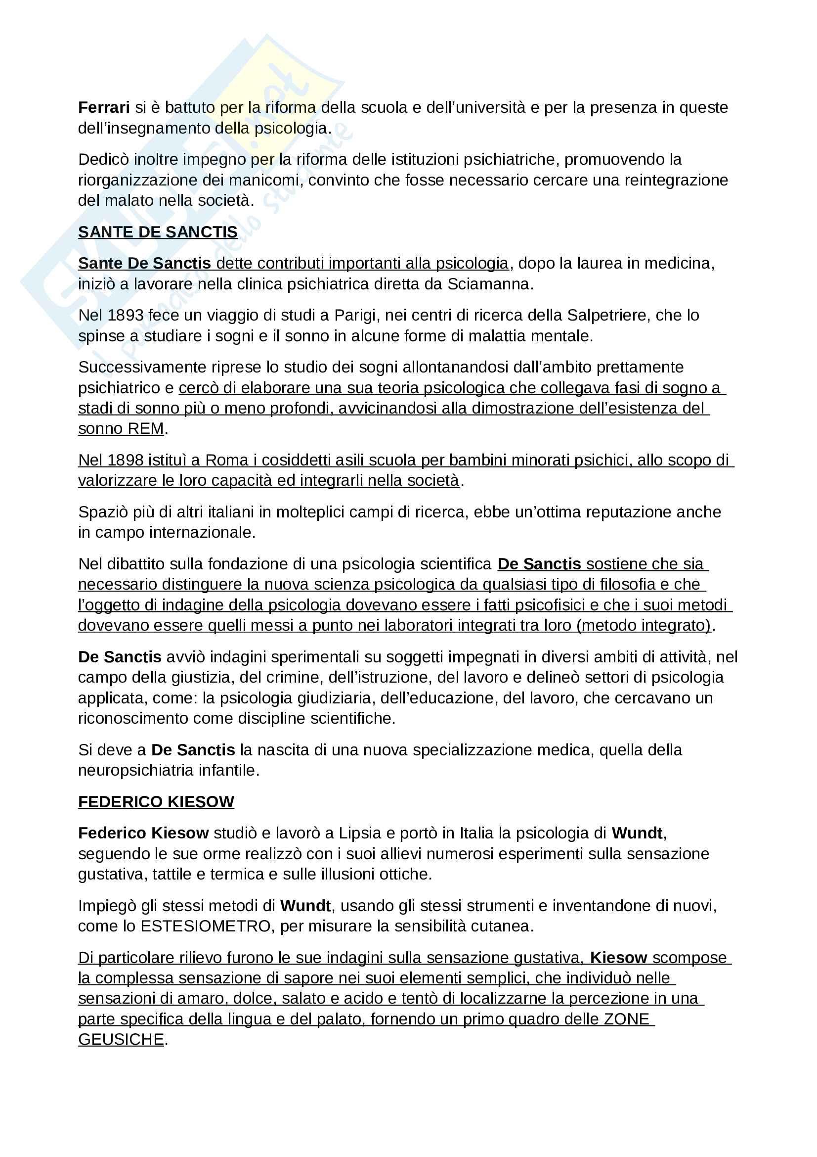 Riassunto Esame Storia delle Scienze Psicologiche, prof. Foschi, libro consigliato Percorsi di Storia della Psicologia Italiana, Foschi, Cimino Pag. 11